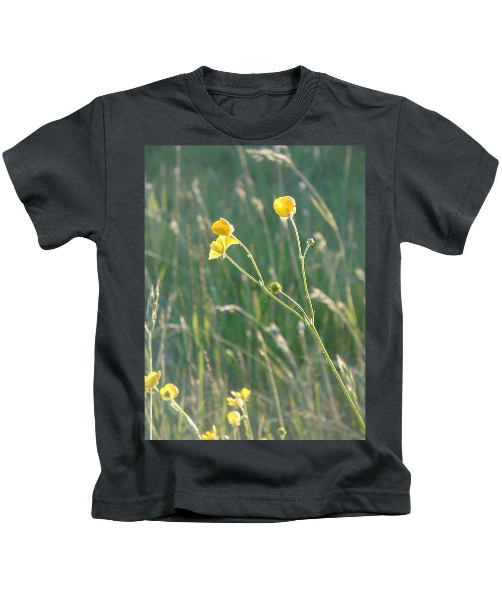Flowers Kids T-Shirt featuring the photograph Summer Buttercups by Susan Baker