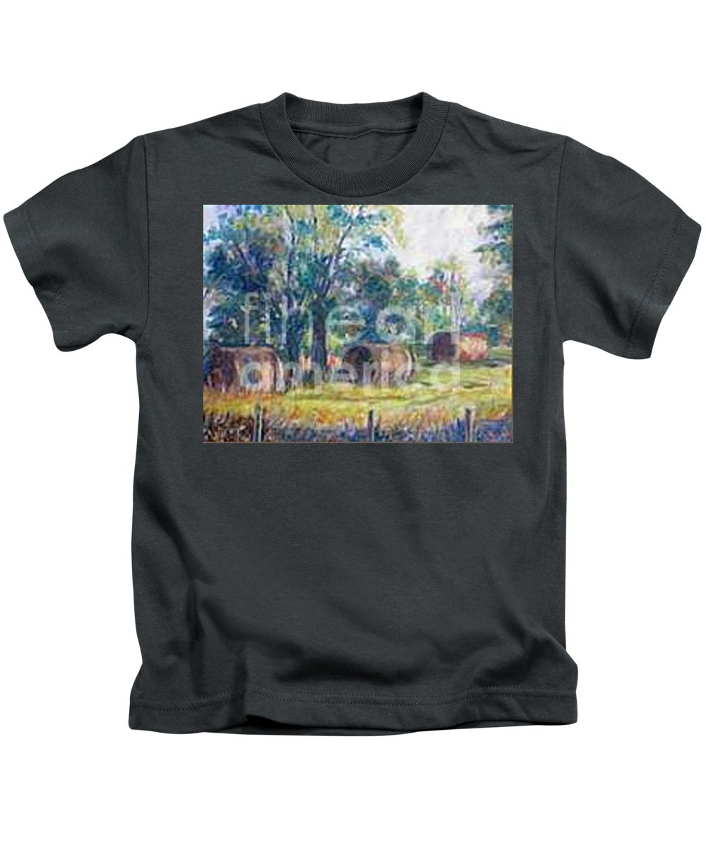 Landscape Kids T-Shirt featuring the painting Summer Idyll by Jan Bennicoff