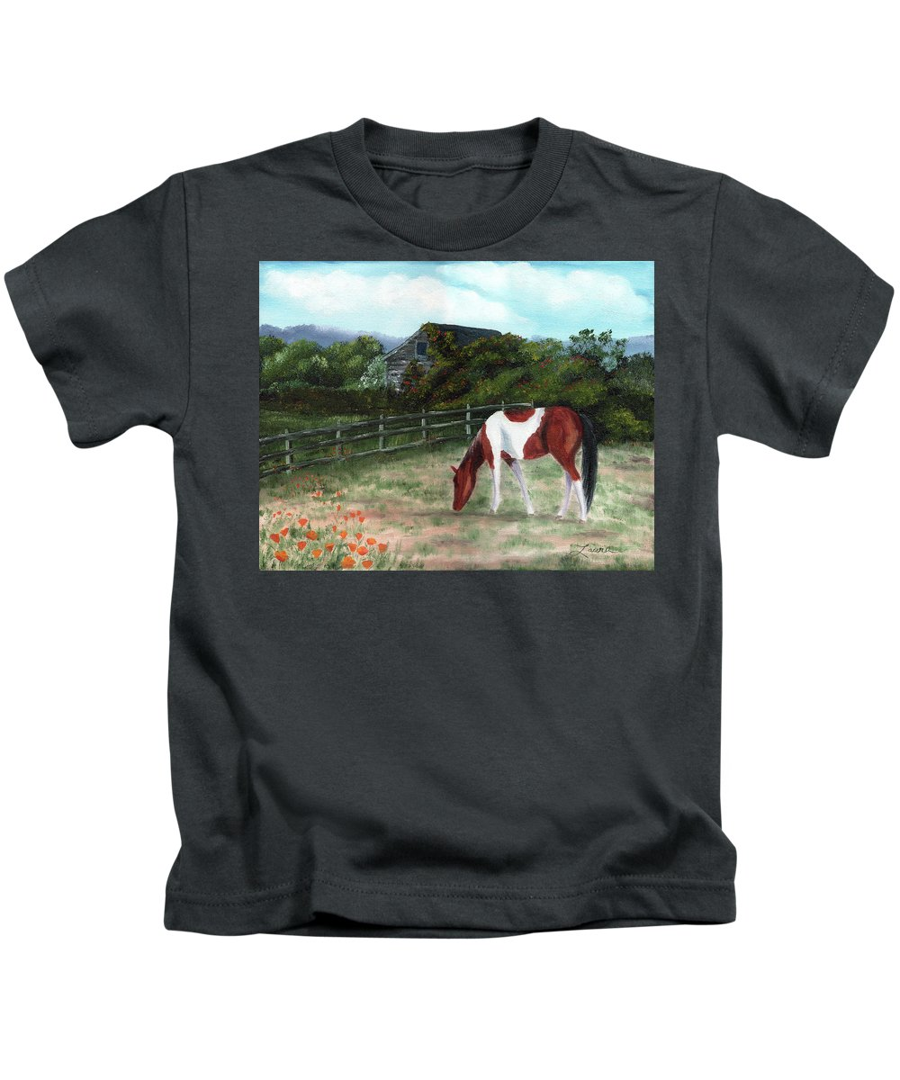 California Kids T-Shirt featuring the painting Summer Morning In The Country by Laura Iverson