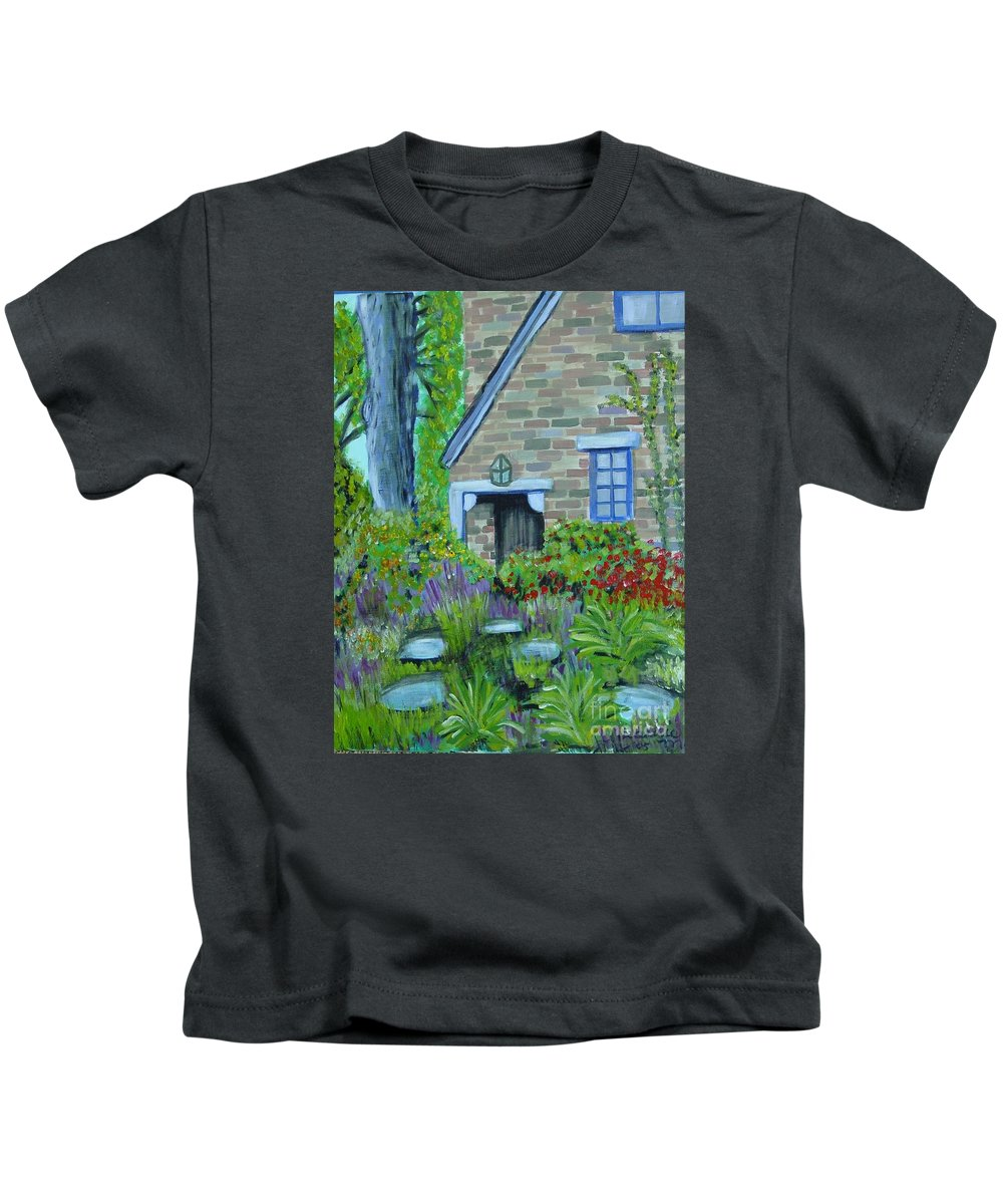 Cottage Kids T-Shirt featuring the painting Summer Retreat by Laurie Morgan