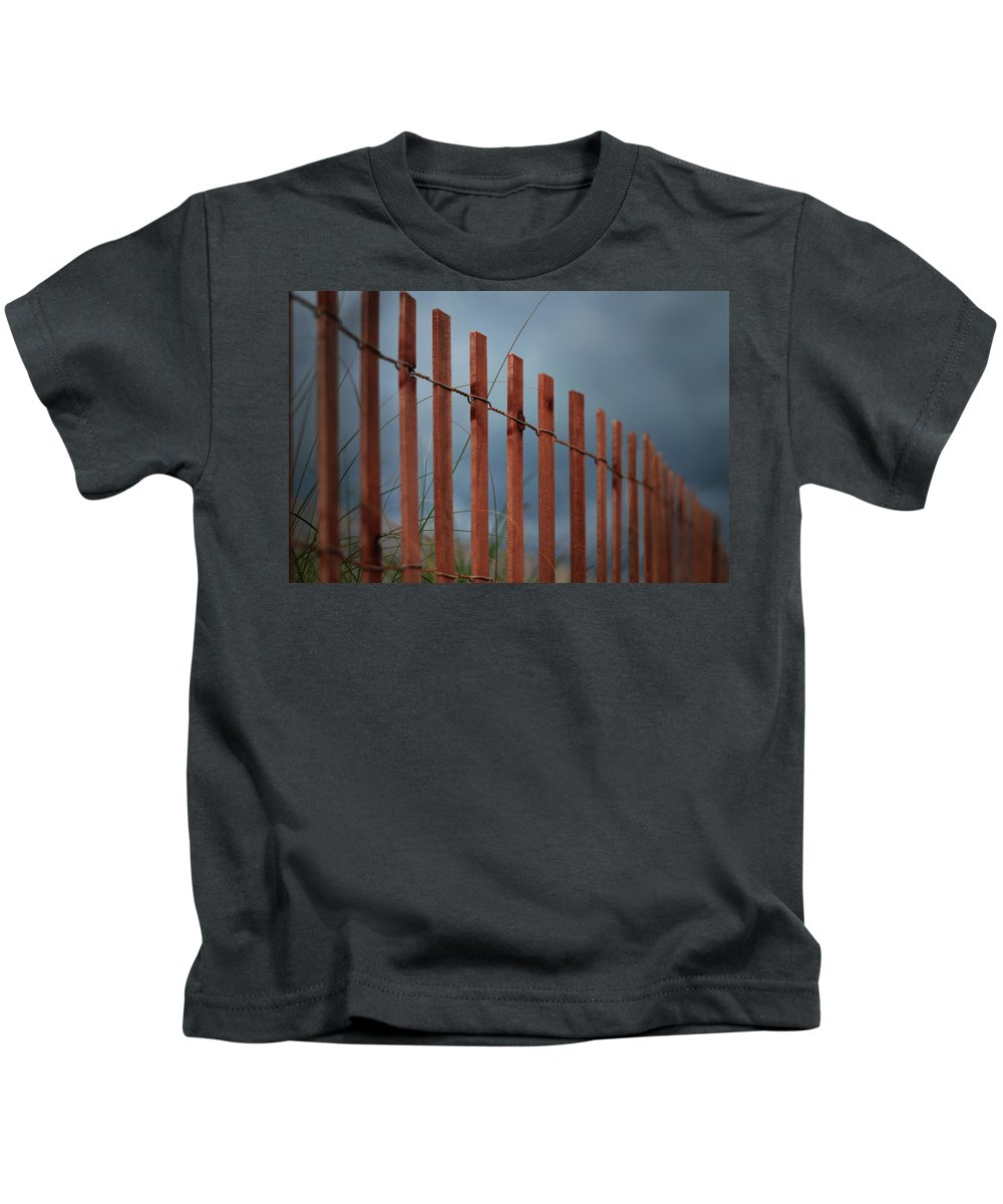 Red Beach Fence Kids T-Shirt featuring the photograph Summer Storm Beach Fence by Laura Fasulo