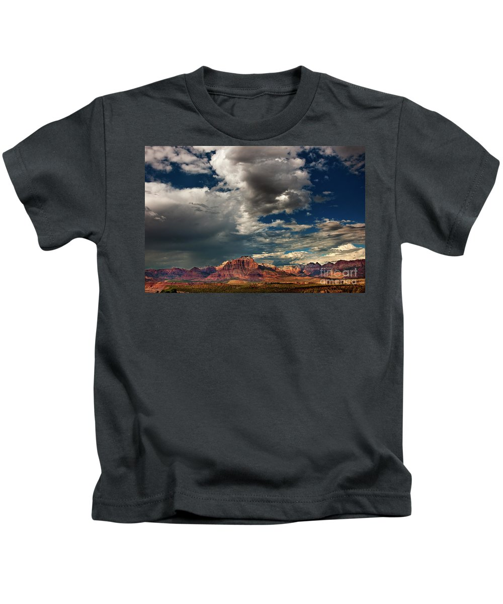 Davw Welling Kids T-Shirt featuring the photograph Summer Thunderstorm Clouds Form Over West Temple Zion National Park Utah by Dave Welling