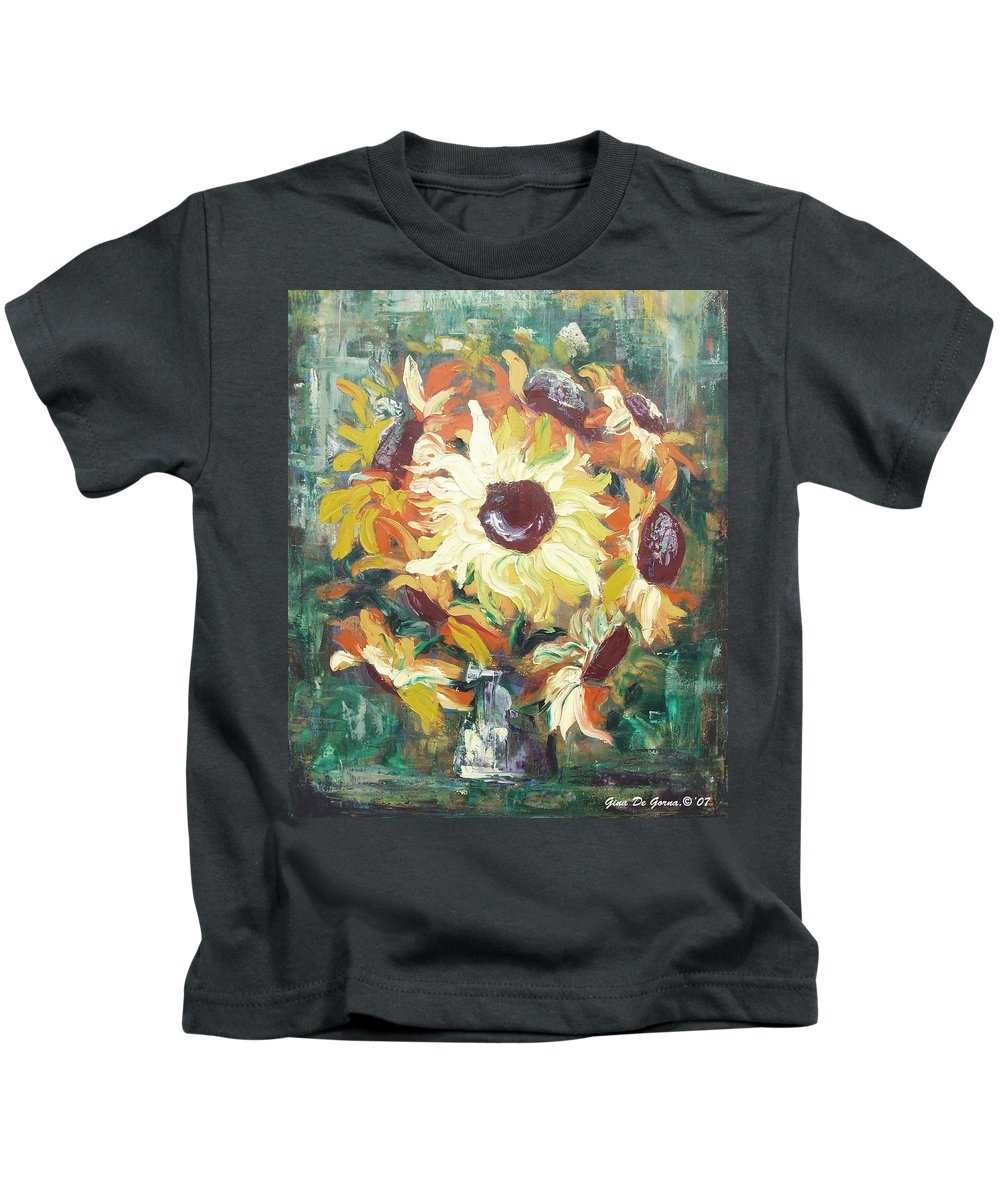 Sunflowers Kids T-Shirt featuring the painting Sun In A Vase by Gina De Gorna