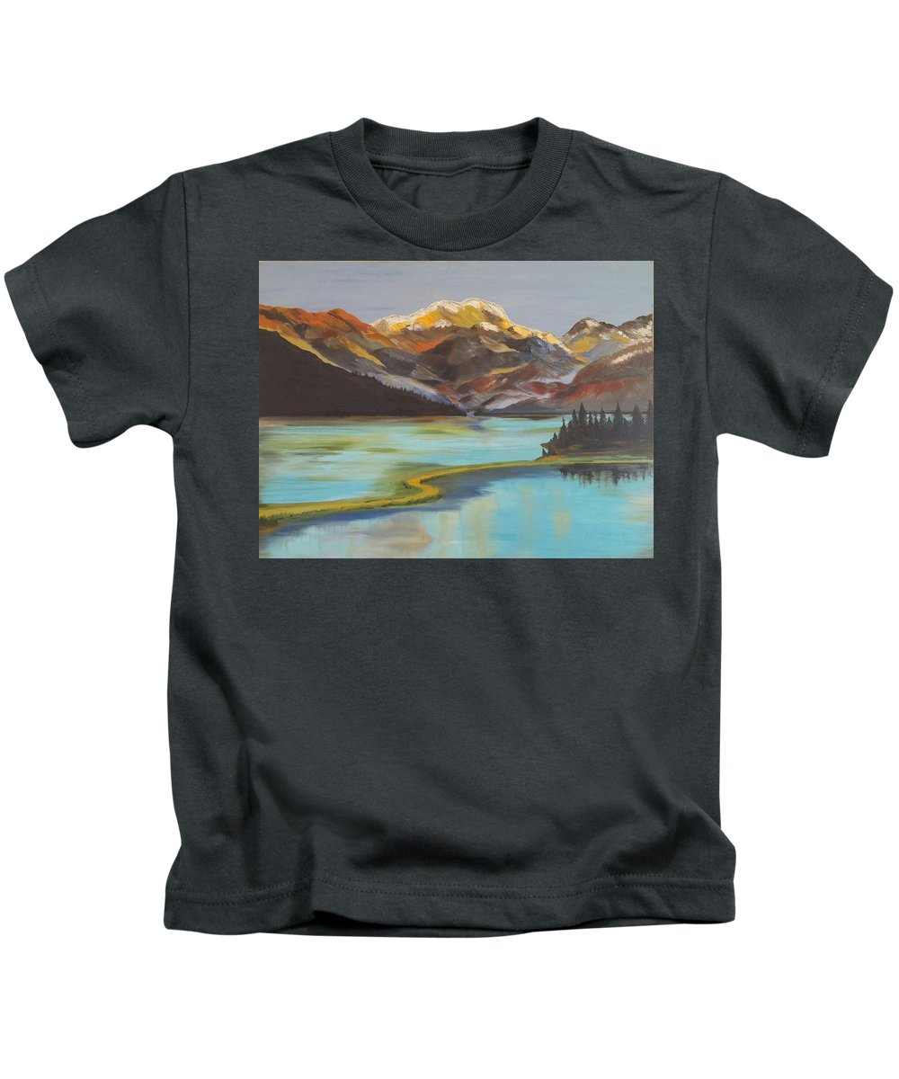 Landscape Kids T-Shirt featuring the painting Sun Ricing On Rockies by Sarojinie De Silva