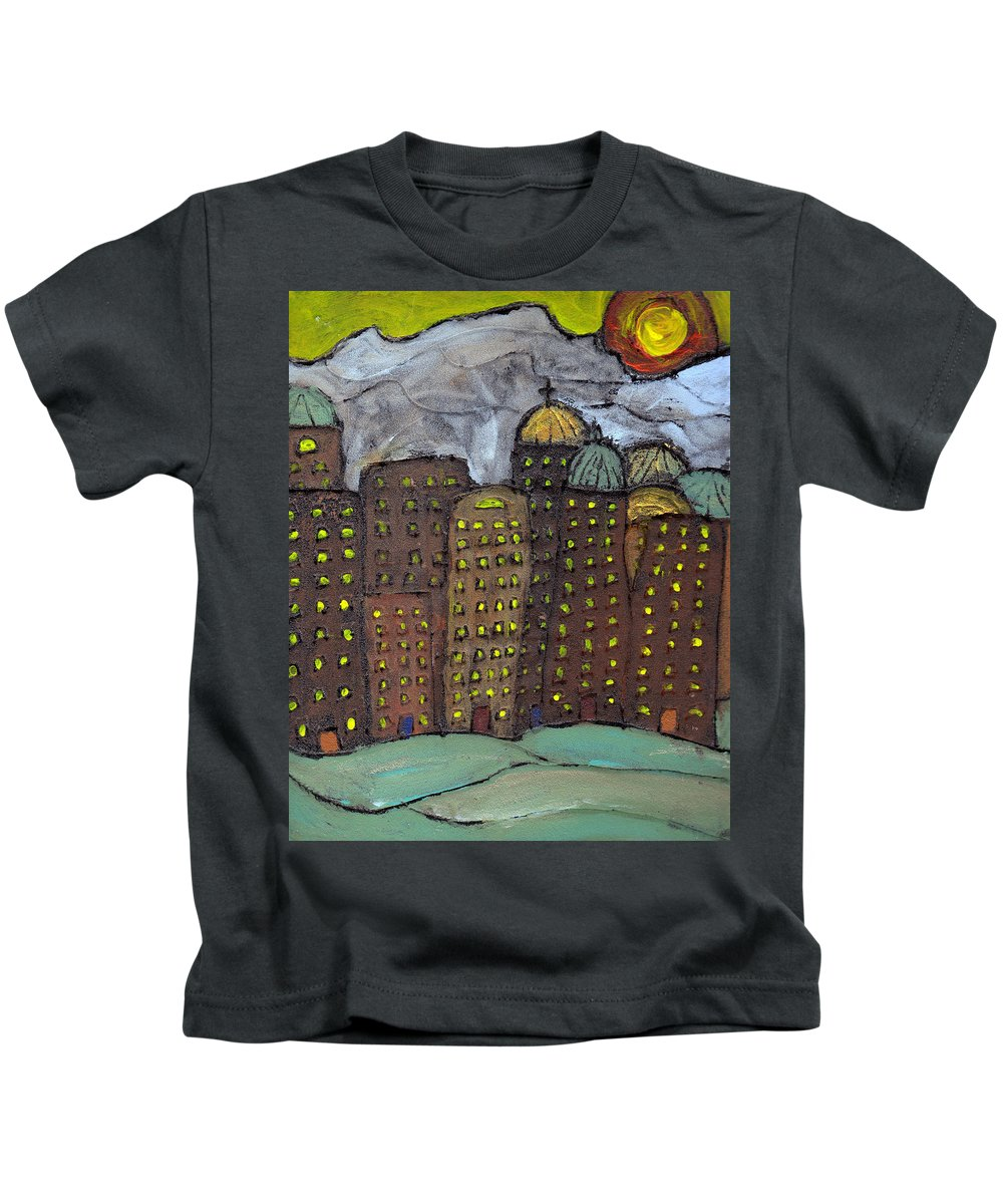 Buildings Kids T-Shirt featuring the painting Sun Rising On Olde Towne by Wayne Potrafka
