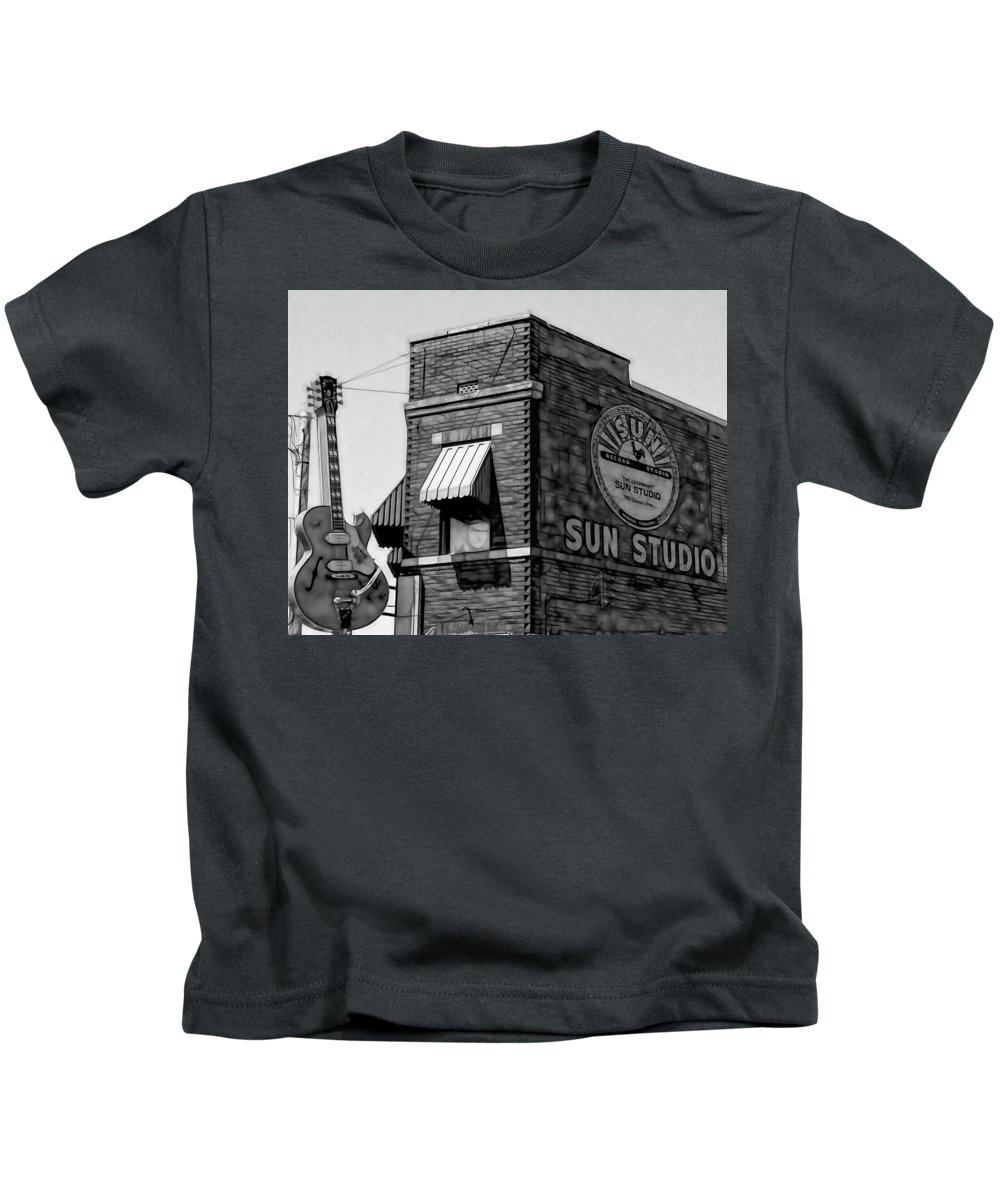 Elvis Art Kids T-Shirt featuring the mixed media Sun Studio Collection by Marvin Blaine