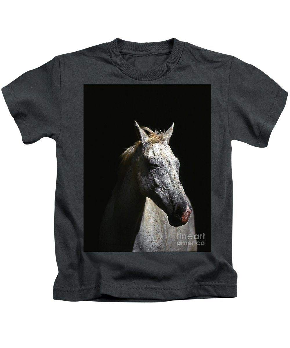 Horse Kids T-Shirt featuring the photograph Sundance by Jim Cazel
