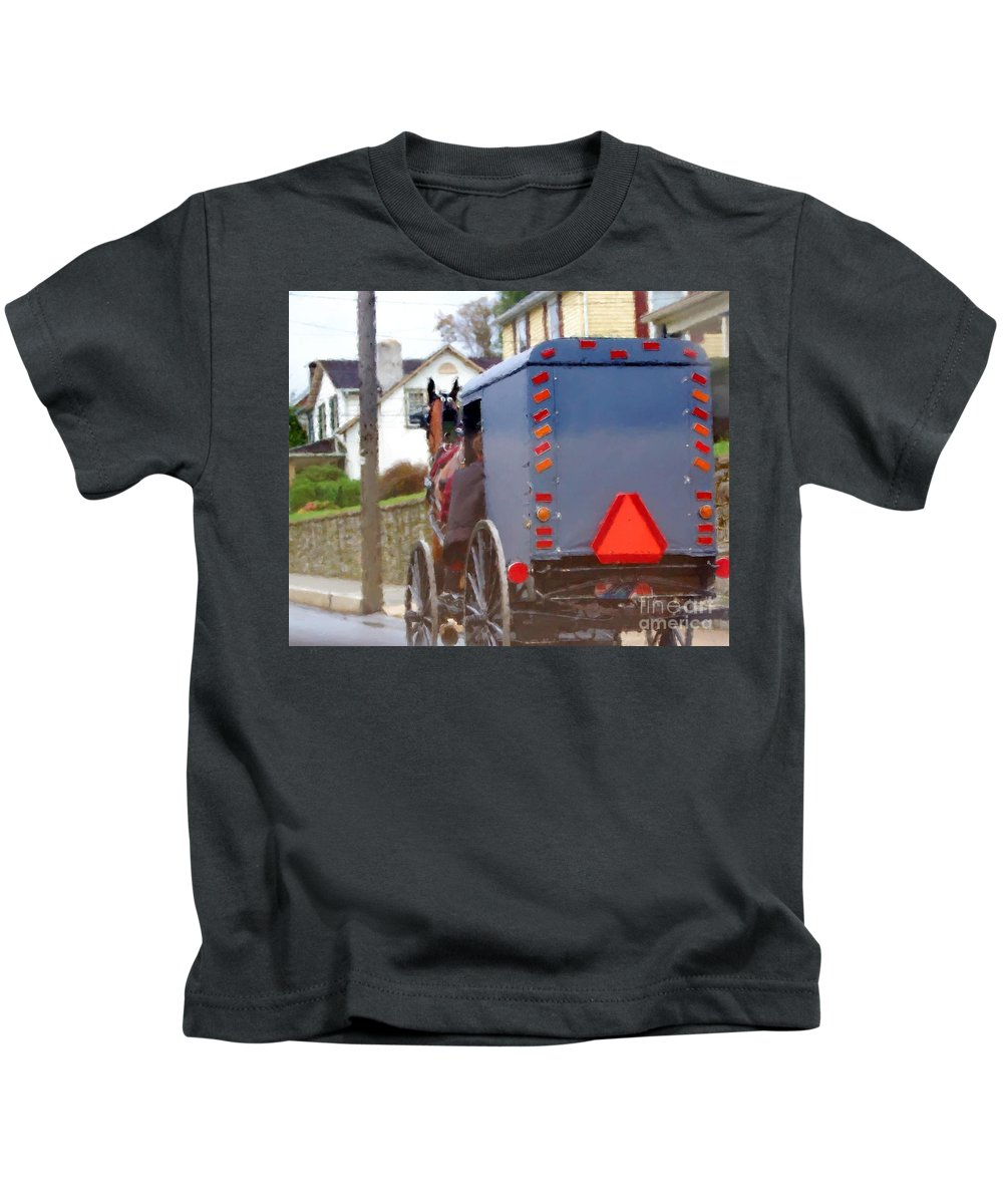 Amish Kids T-Shirt featuring the photograph Sunday Courting by Debbi Granruth