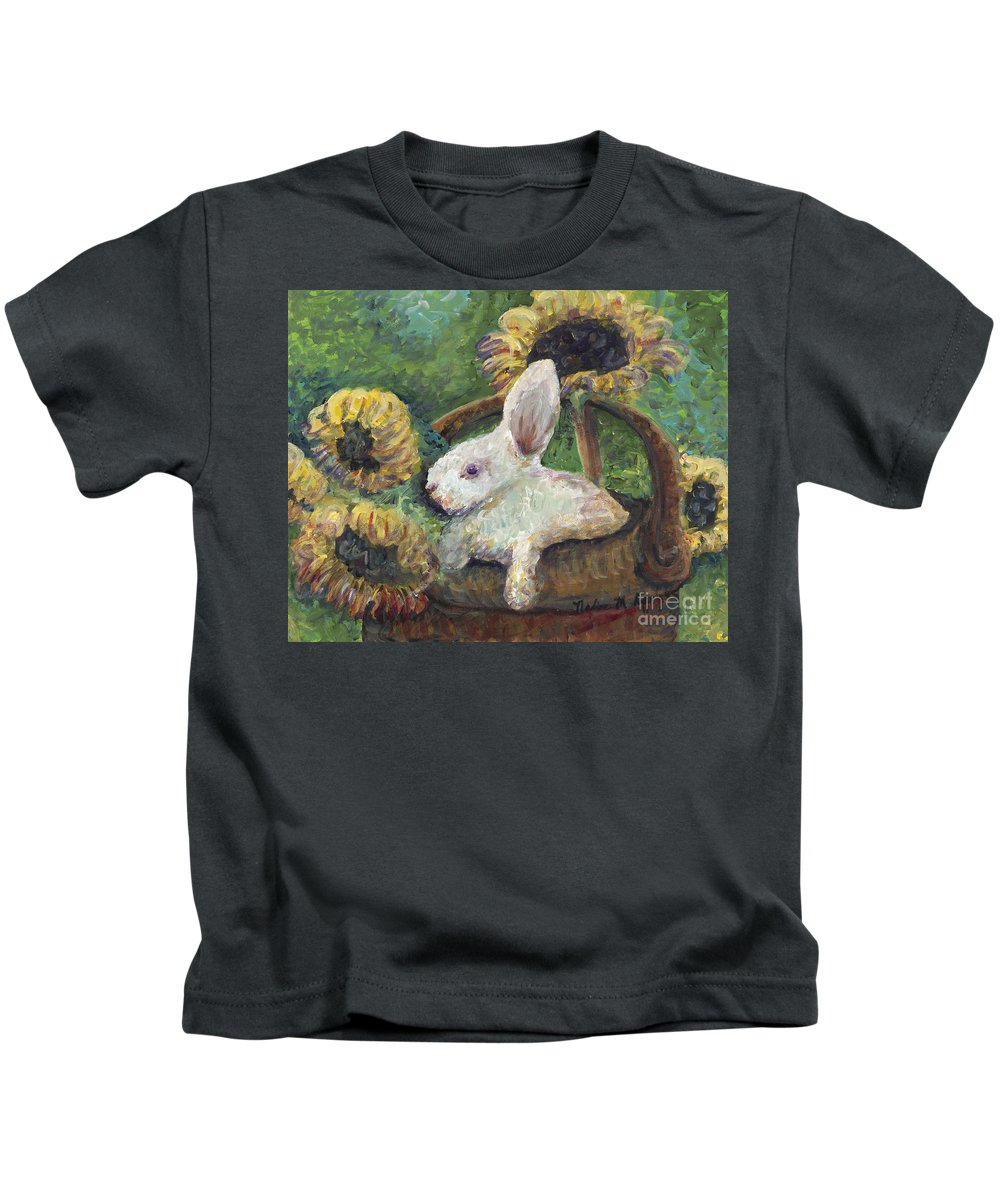 Sunflowers Kids T-Shirt featuring the painting Sunflower Basket Surprise by Nadine Rippelmeyer