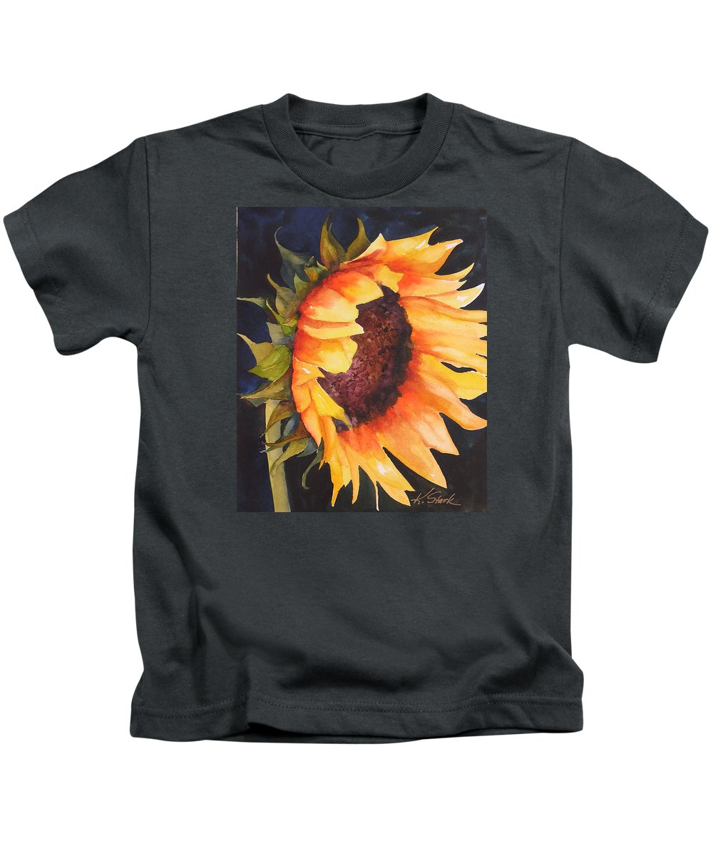 Floral Kids T-Shirt featuring the painting Sunflower by Karen Stark