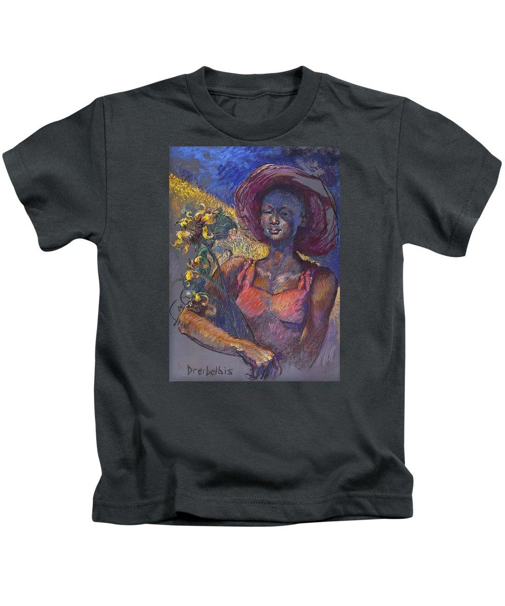 Woman Kids T-Shirt featuring the painting Sunflower Woman by Ellen Dreibelbis