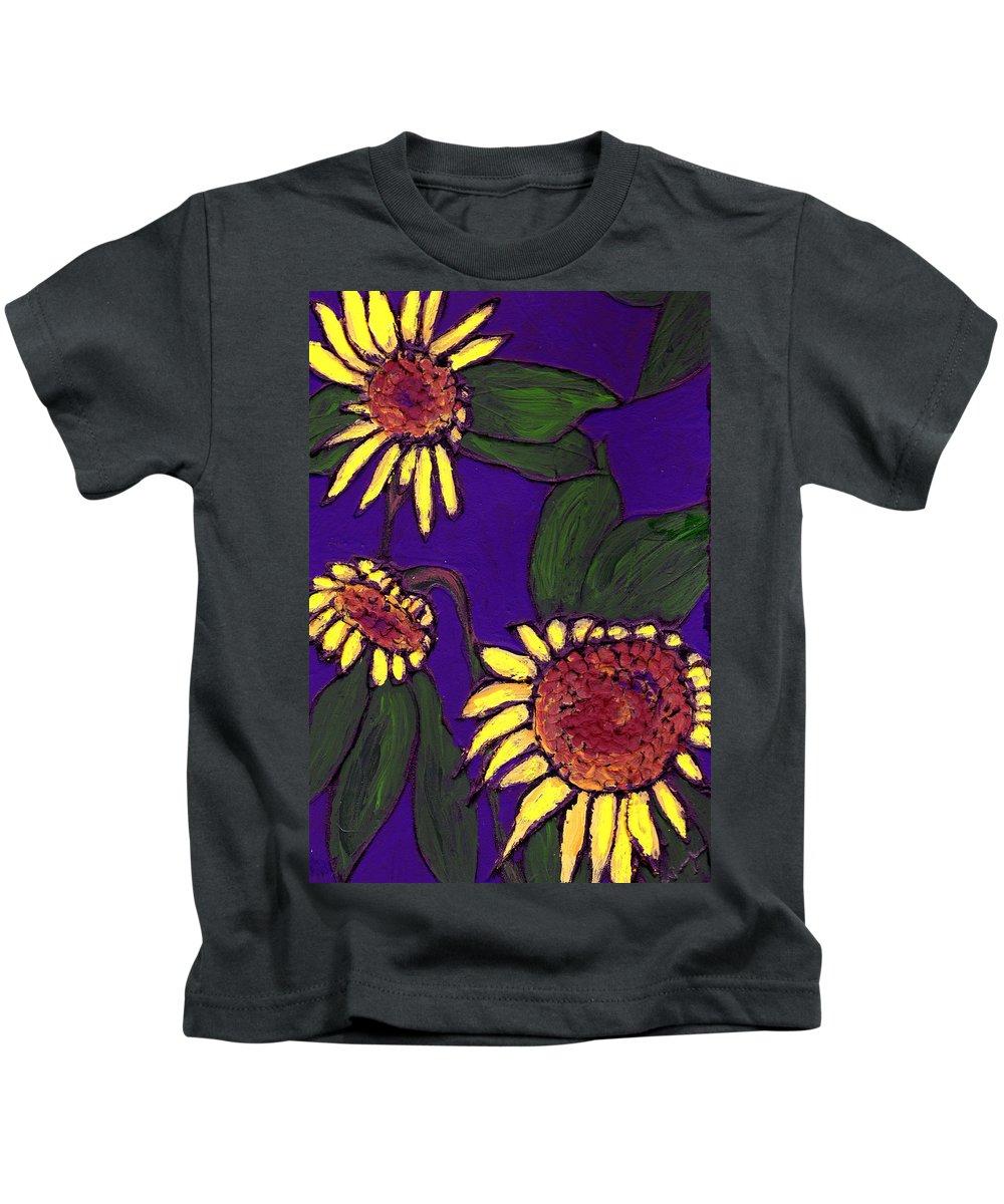 Sunflowers Kids T-Shirt featuring the painting Sunflowers On Purple by Wayne Potrafka