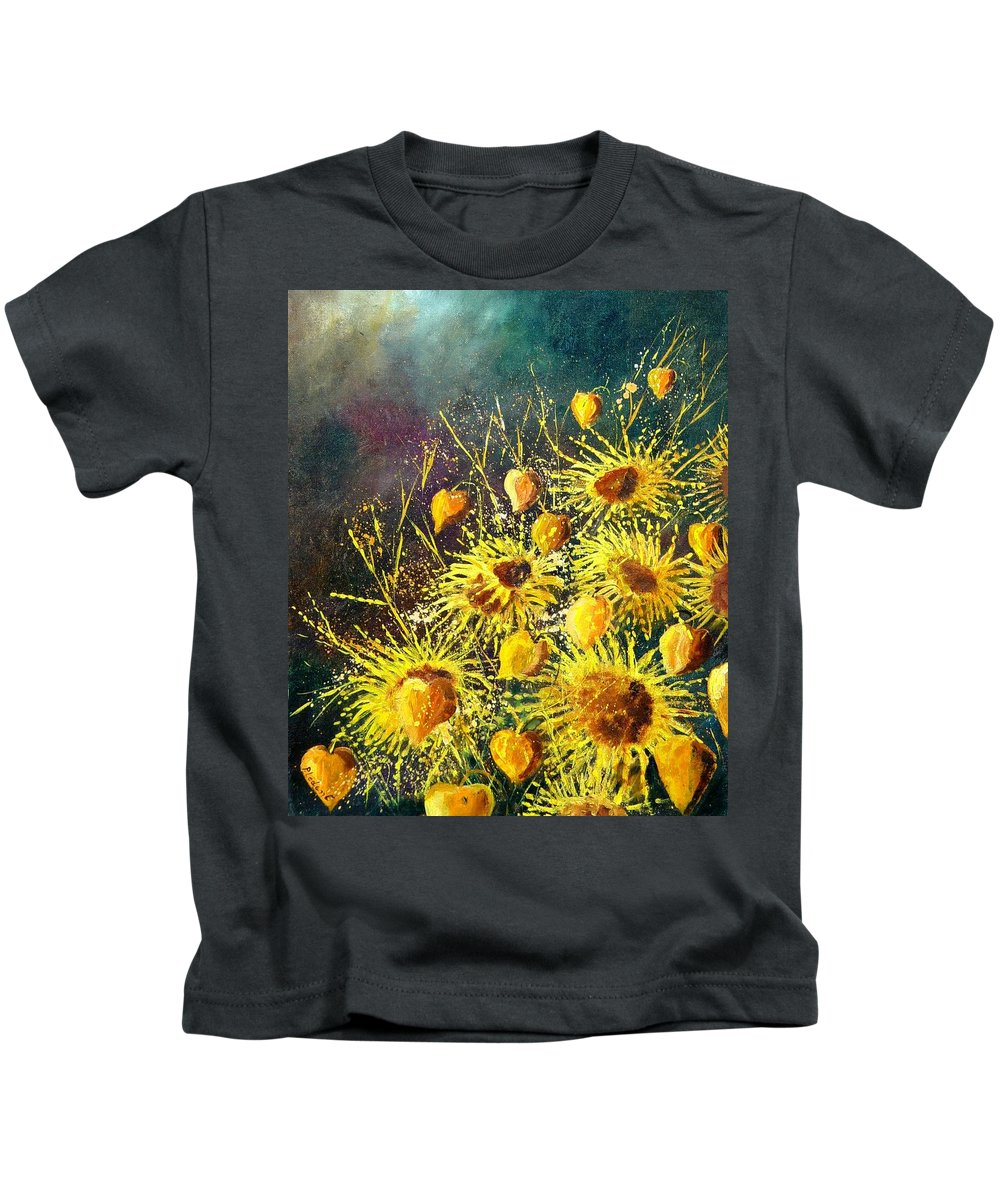 Flowers Kids T-Shirt featuring the painting Sunflowers by Pol Ledent