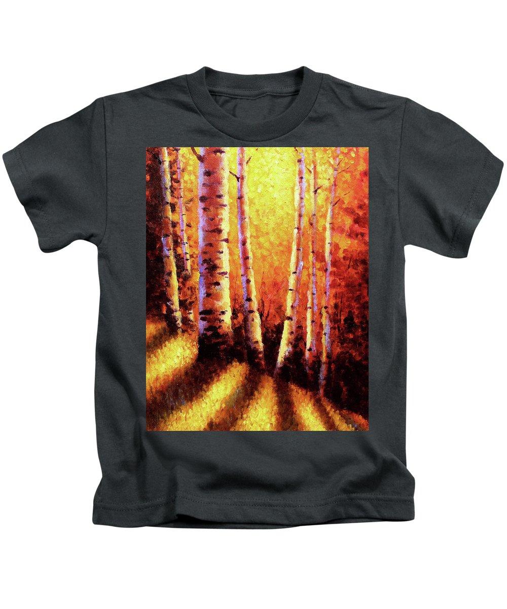Sunlight Kids T-Shirt featuring the painting Sunlight Through The Aspens by David G Paul