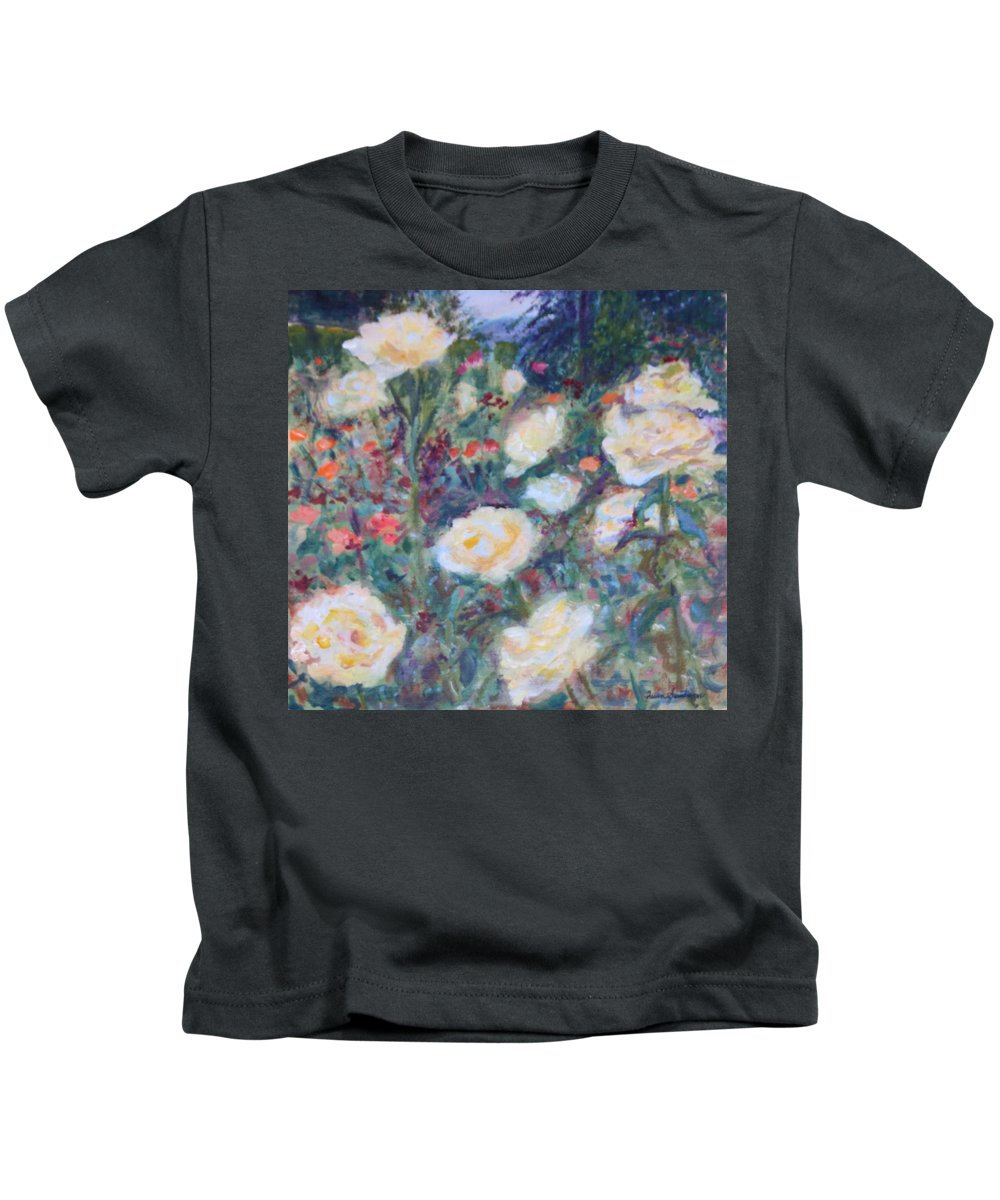 Quin Sweetman Kids T-Shirt featuring the painting Sunny Day At The Rose Garden by Quin Sweetman