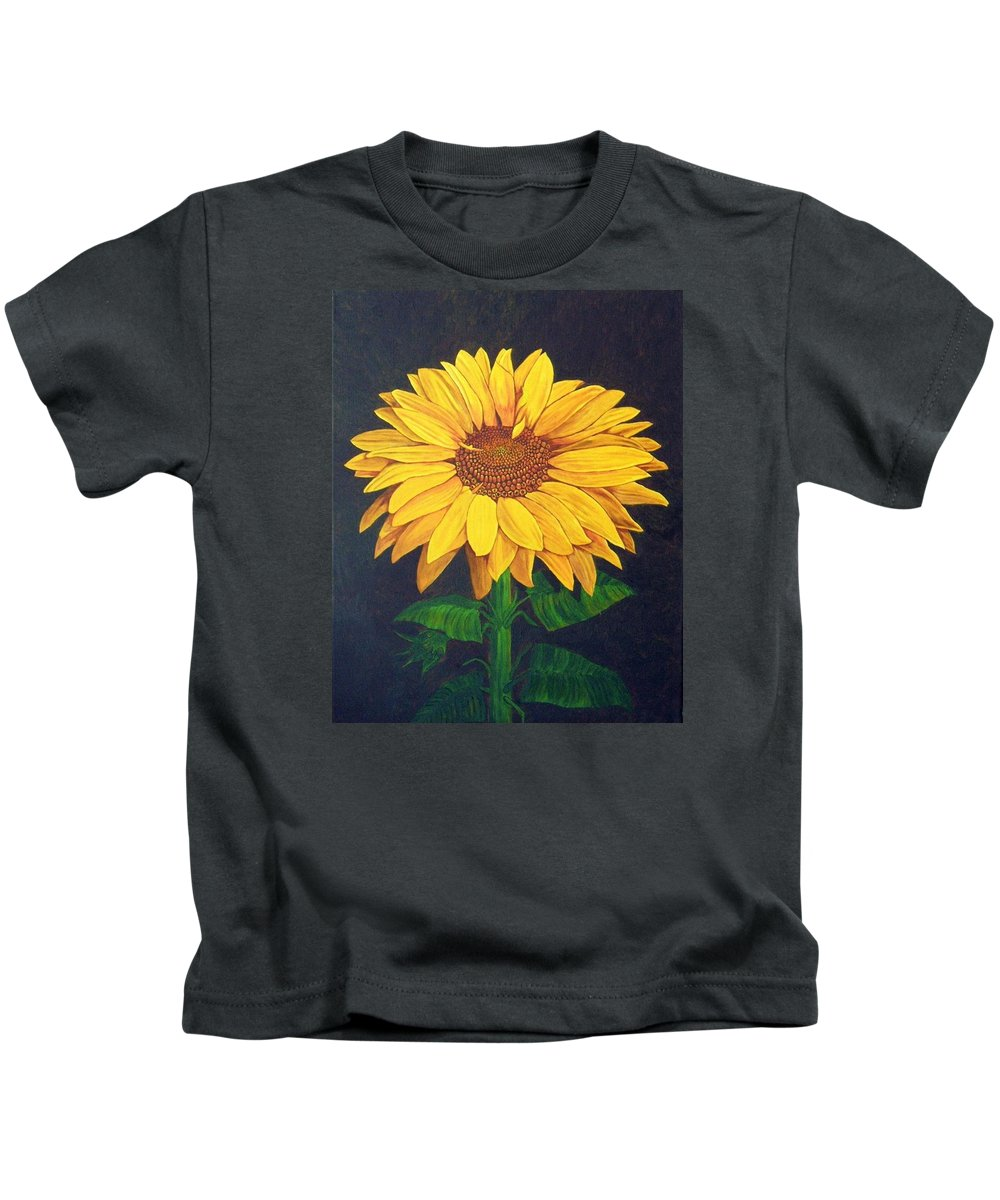 Sunflower Kids T-Shirt featuring the painting Sunny Flower by Brandy House