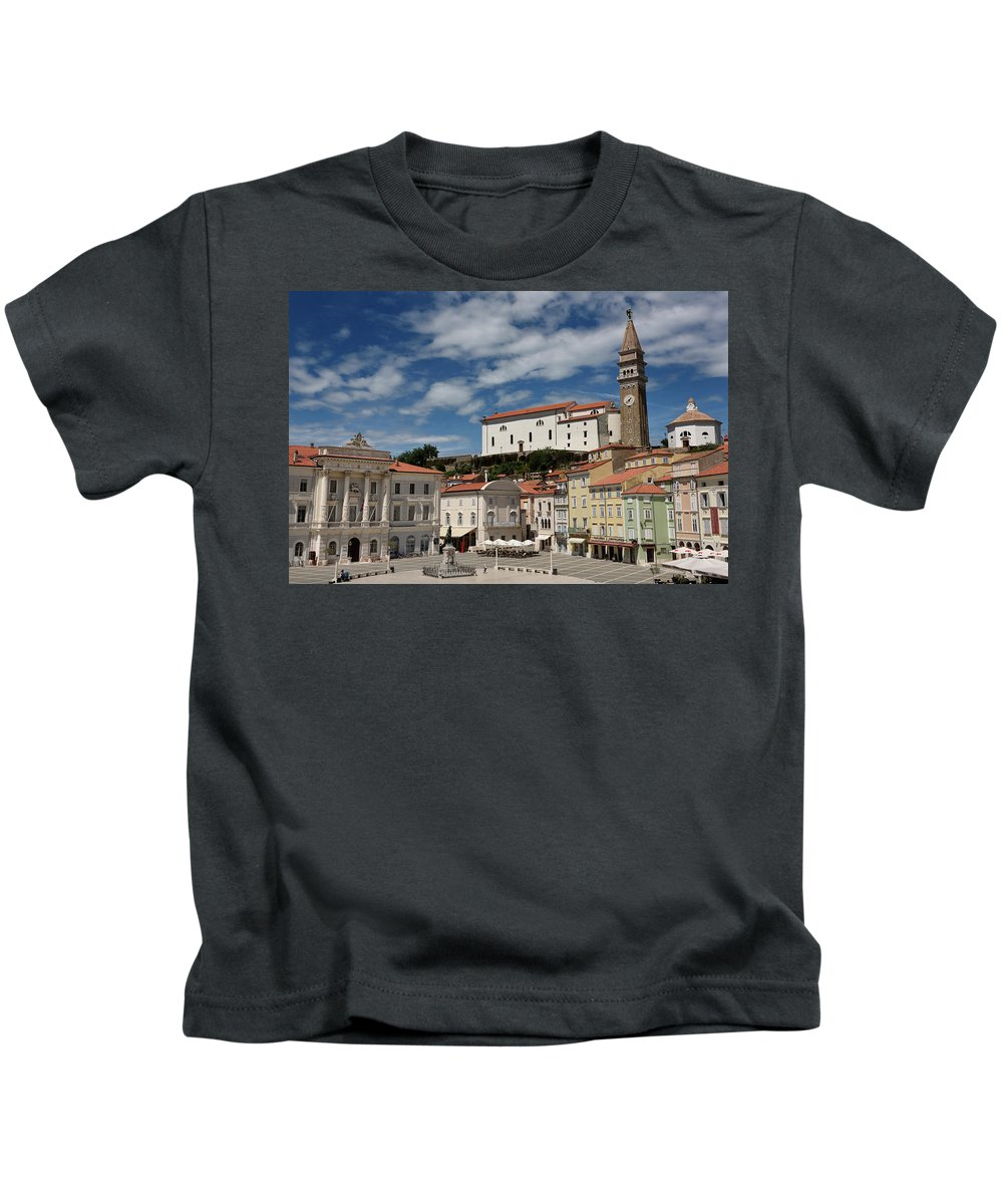 St. George's Kids T-Shirt featuring the photograph Sunny Tartini Square In Piran Slovenia With Government Building, by Reimar Gaertner