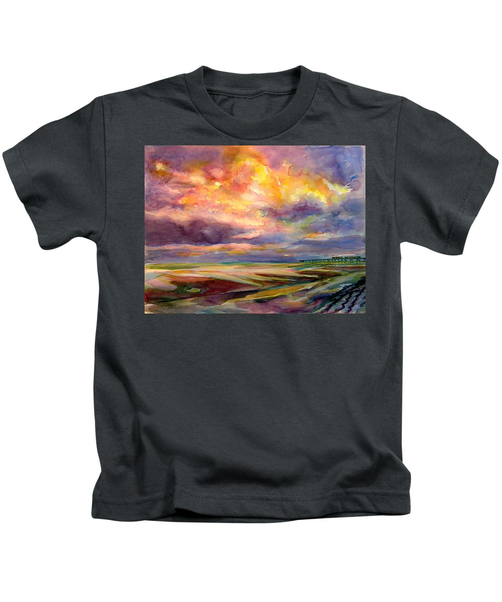 Sunrise Kids T-Shirt featuring the painting Sunrise And Tide Pool by Julianne Felton