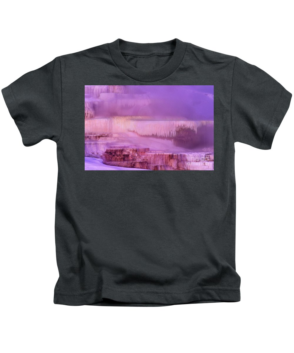 North America Kids T-Shirt featuring the photograph Sunrise At Minerva Springs Yellowstone National Park by Dave Welling