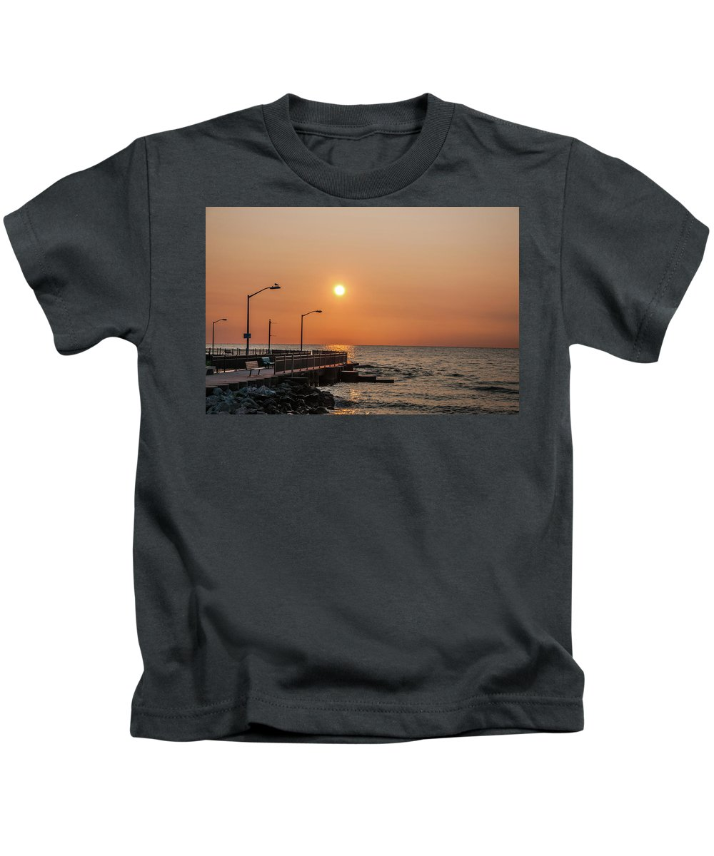 Lake Erie Kids T-Shirt featuring the photograph Sunrise At The Pier by Angela Mocniak
