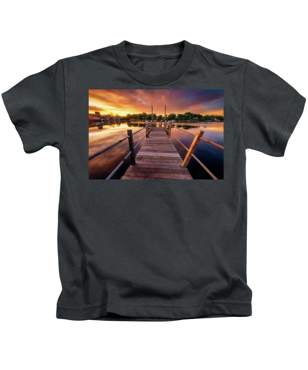 Clouds Kids T-Shirt featuring the photograph Sunrise By The Ramp by Lechmoore Simms
