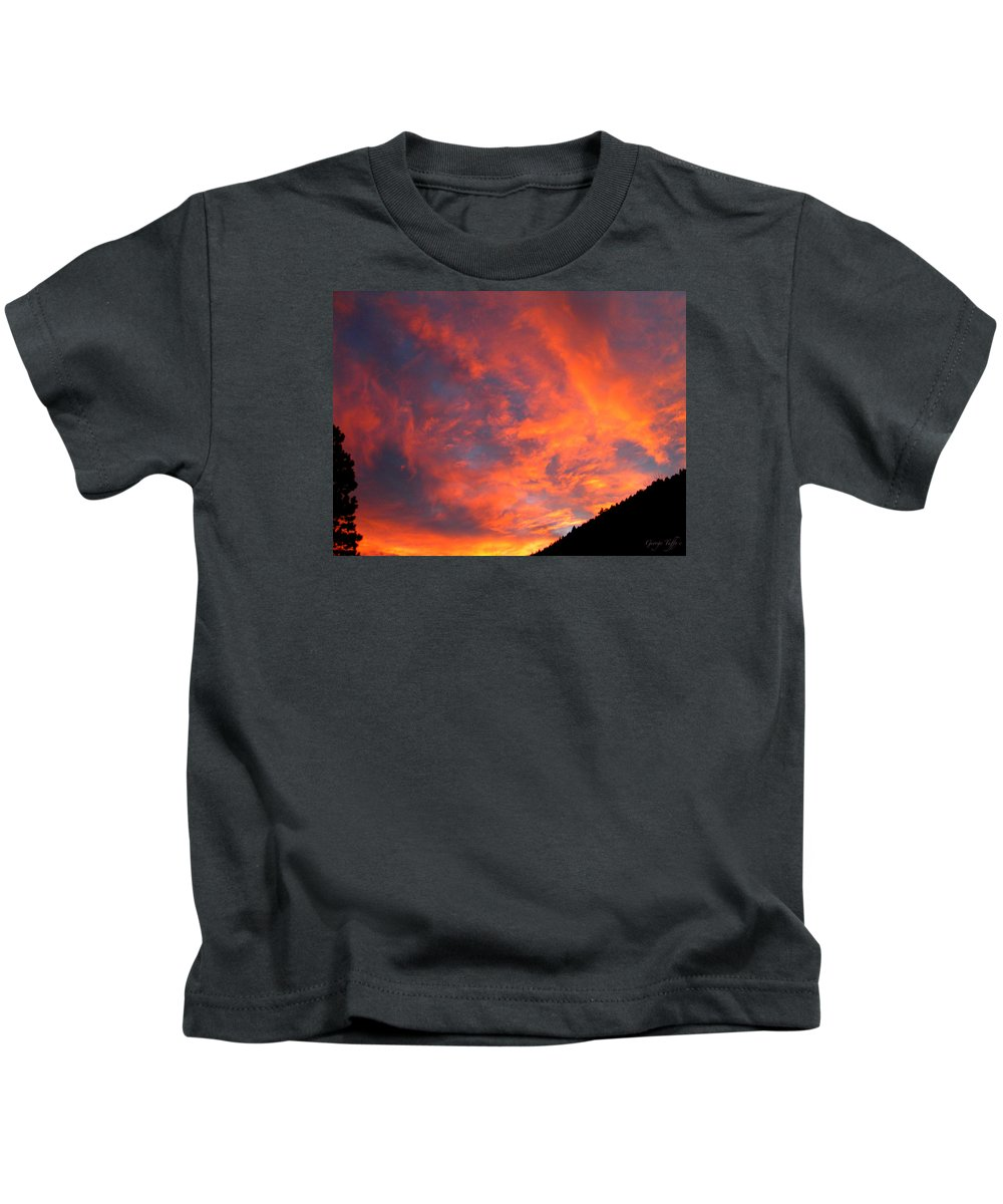 Sunrise Clouds Colorado Rocky Mountains Nature Zen Simple Colorful Big Sky Kids T-Shirt featuring the photograph Sunrise by George Tuffy
