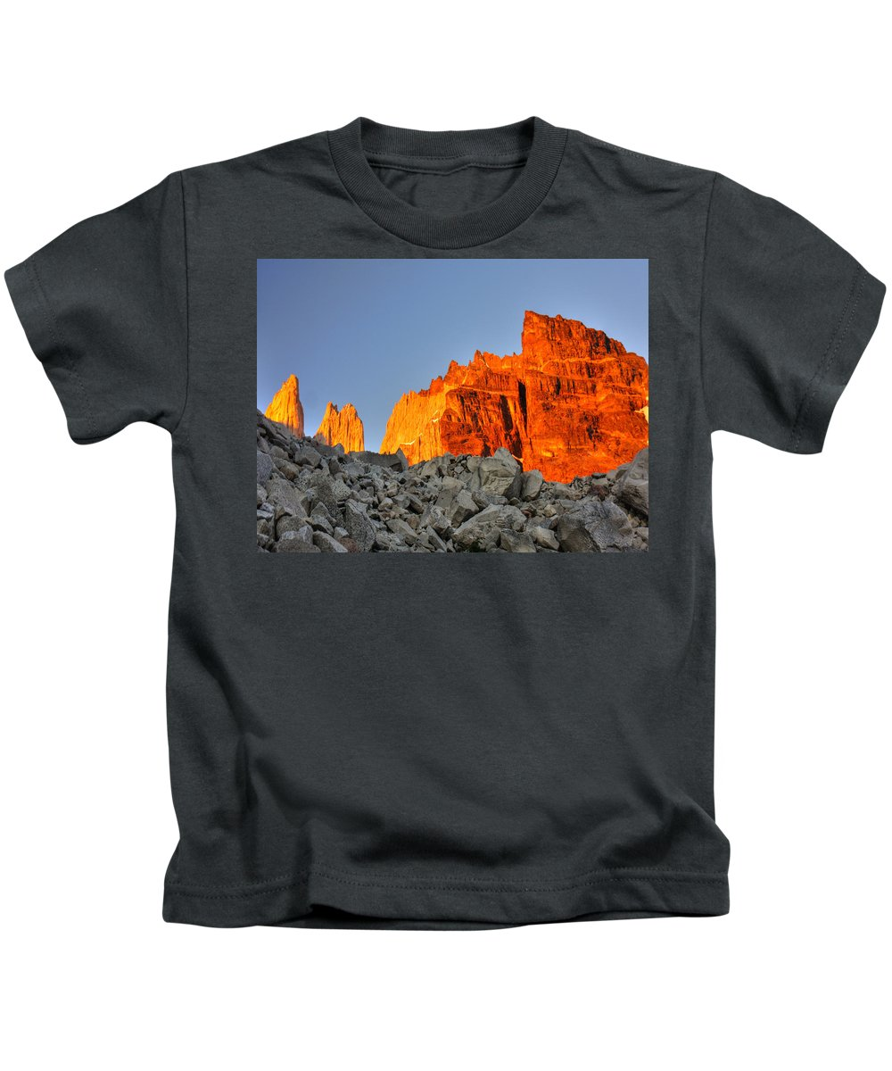 Torres Del Paine Kids T-Shirt featuring the photograph Sunrise In Torres Del Paine by Julian Regan