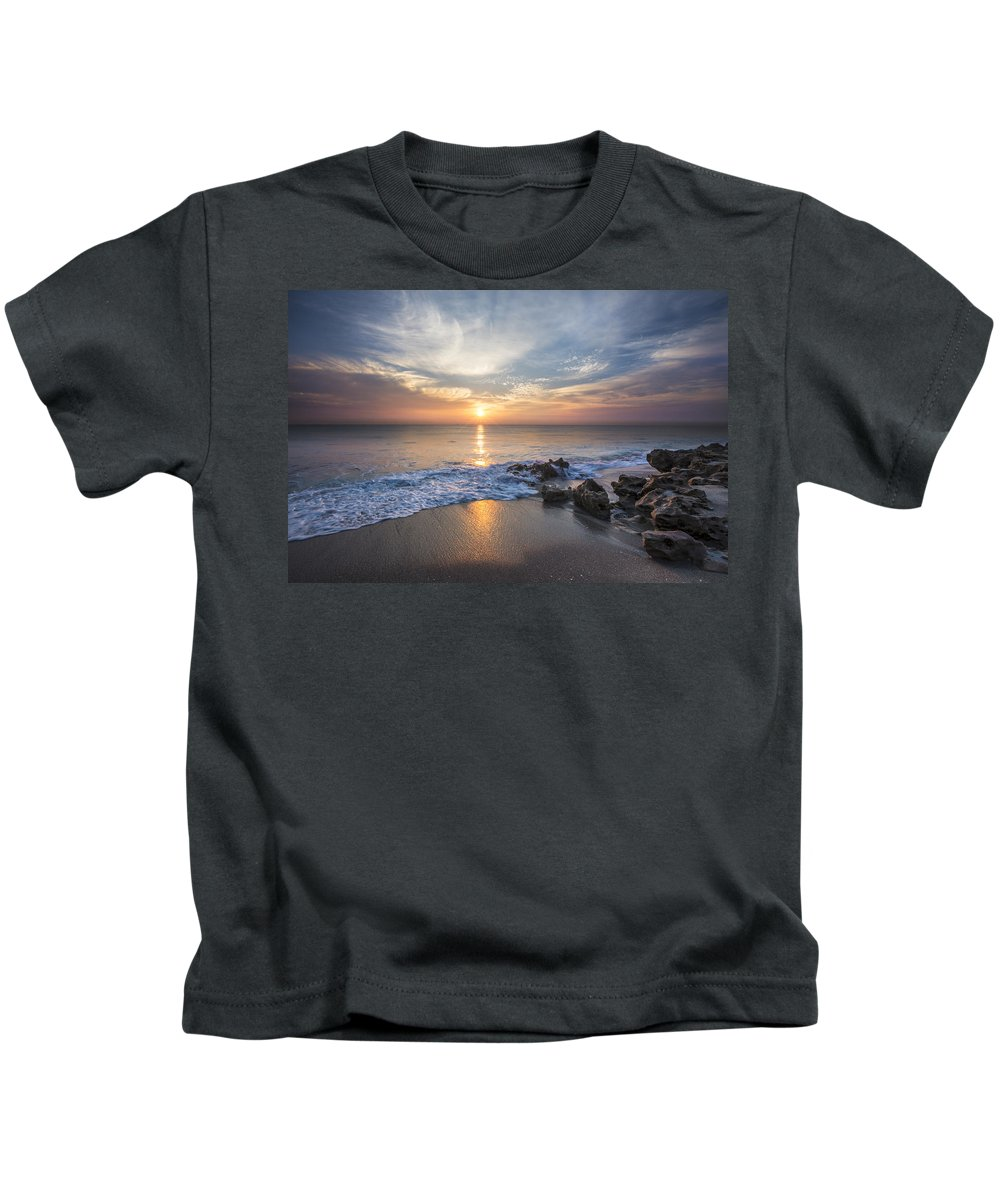 Atlantic Kids T-Shirt featuring the photograph Sunrise Surf by Debra and Dave Vanderlaan