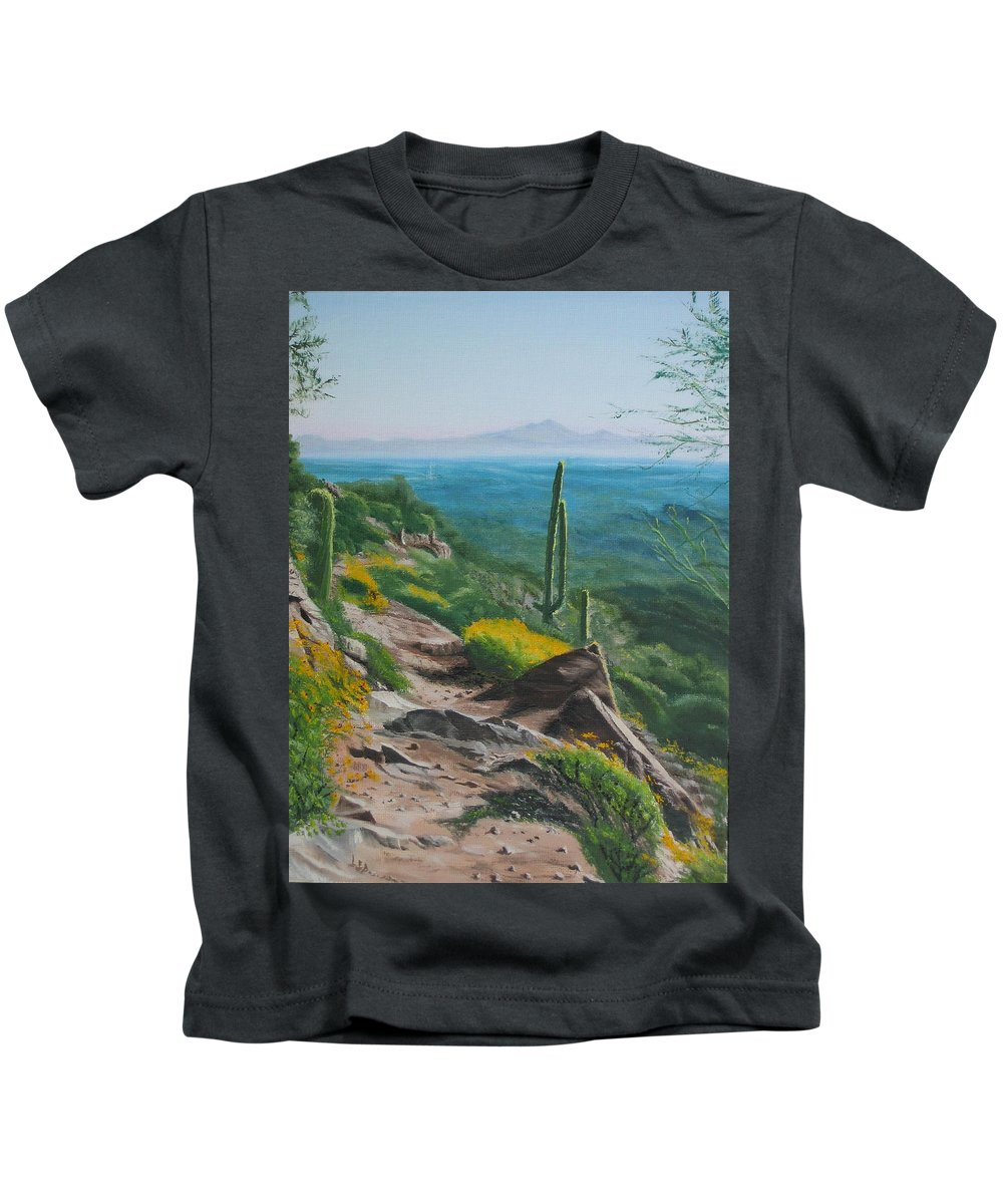 Landscape Kids T-Shirt featuring the painting Sunrise Trail by Lea Novak