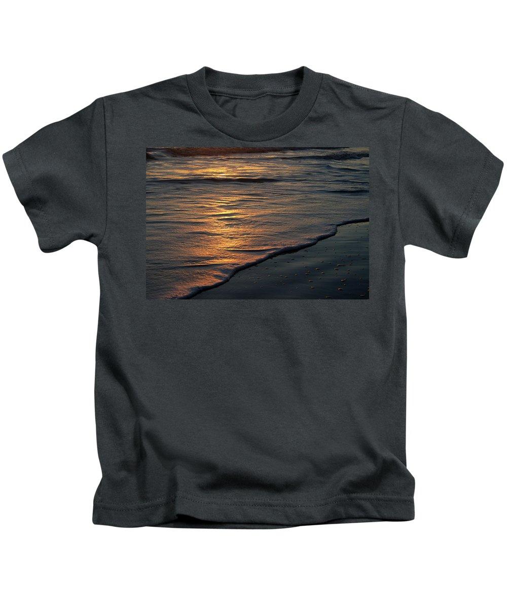 Ocean Beach Sun Sunrise Reflection Wave Tide Bright Orange Gold Water Vacation Kids T-Shirt featuring the photograph Sunrise Waves by Andrei Shliakhau