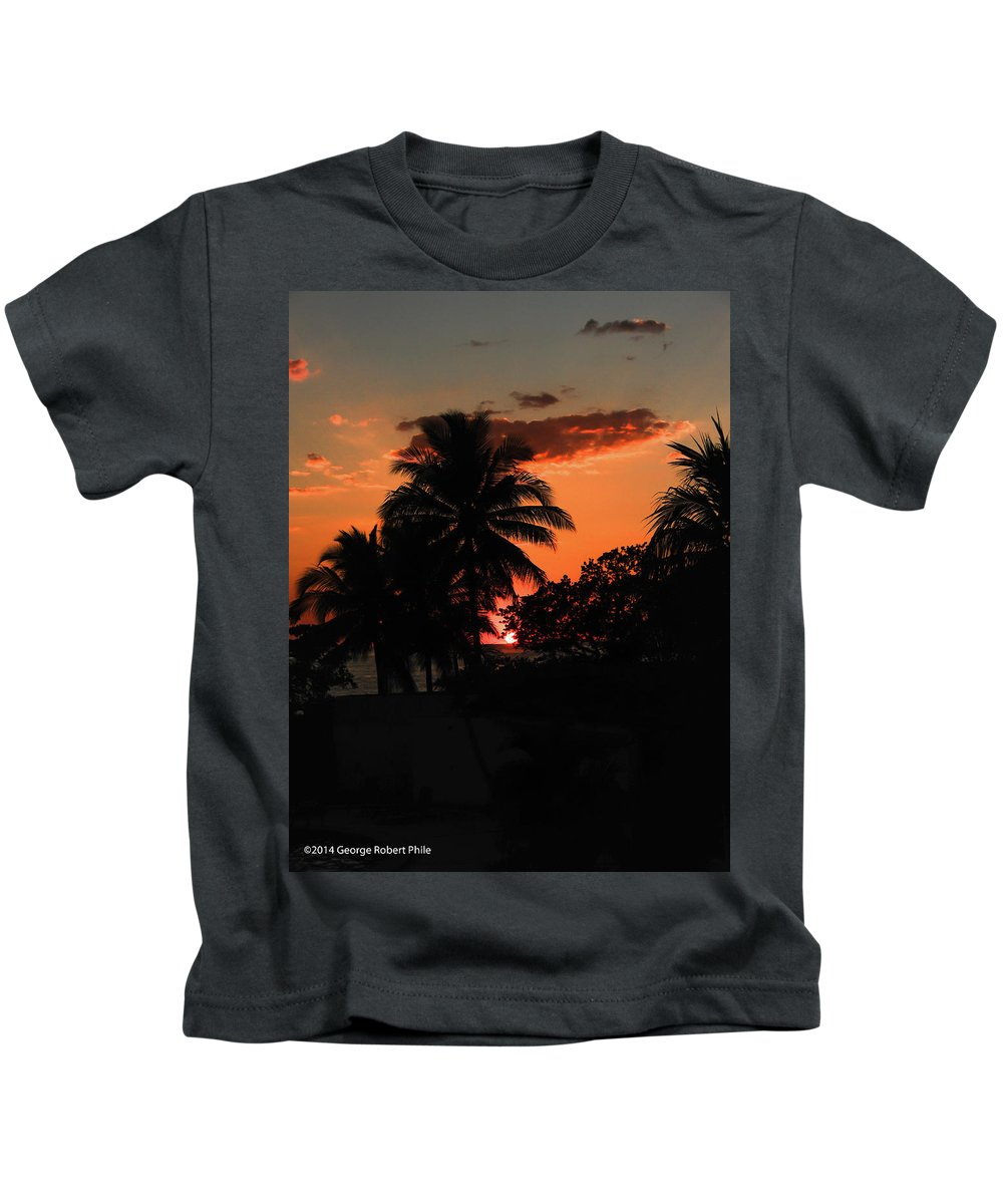 Coastline Kids T-Shirt featuring the photograph Sunset - 46 by George Phile