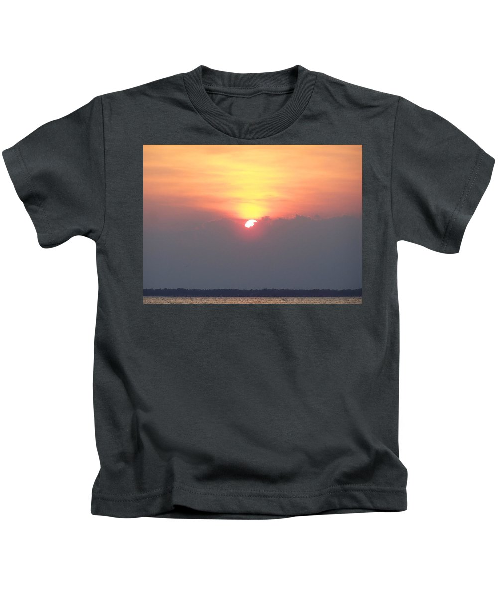 Sunset Kids T-Shirt featuring the photograph Sunset And The Storm by Sandi OReilly
