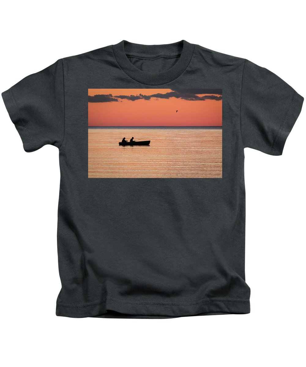Sunsets Kids T-Shirt featuring the photograph Sunset Anglers by Jeffrey Ewig