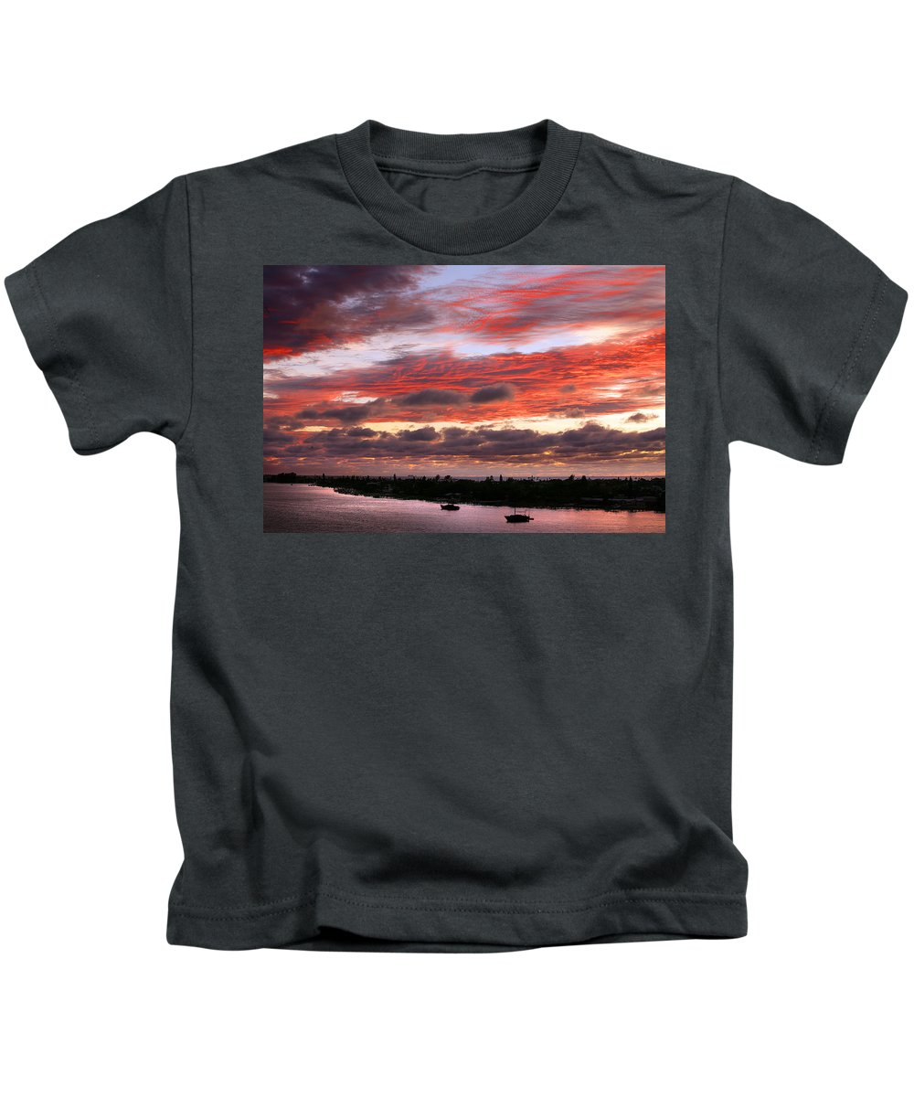 Sun Kids T-Shirt featuring the photograph Sunset At Pass A Grille Florida by Mal Bray