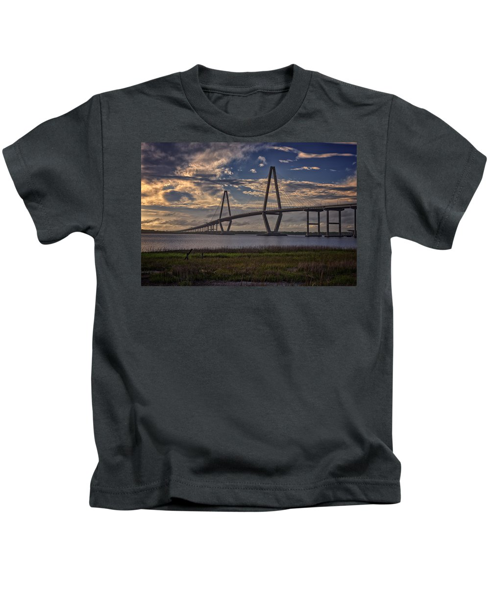 Ravenel Bridge Kids T-Shirt featuring the photograph Sunset At Ravenel Bridge by Rick Berk