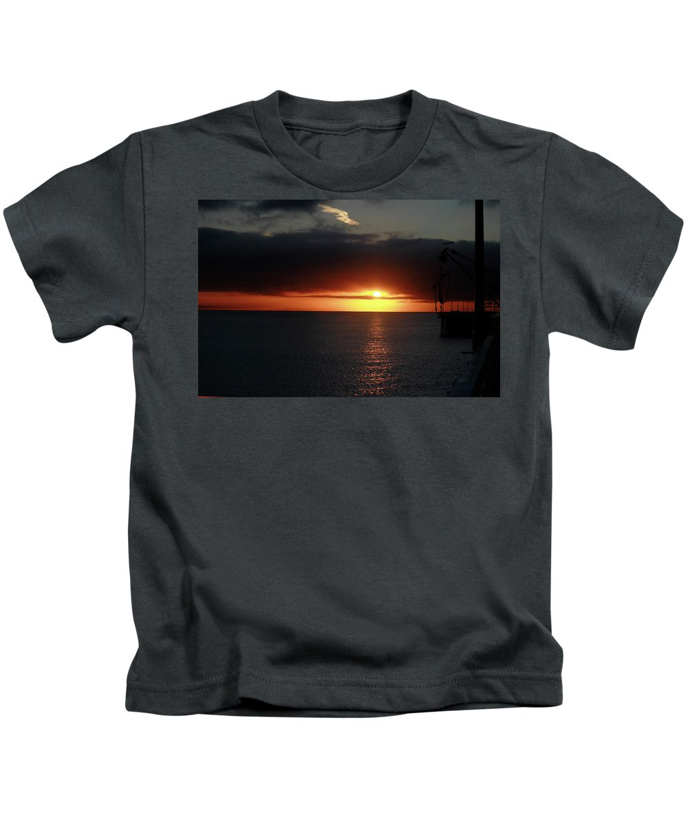 Sunset Kids T-Shirt featuring the photograph Sunset At The Santa Cruz Wharf by Pauline Darrow