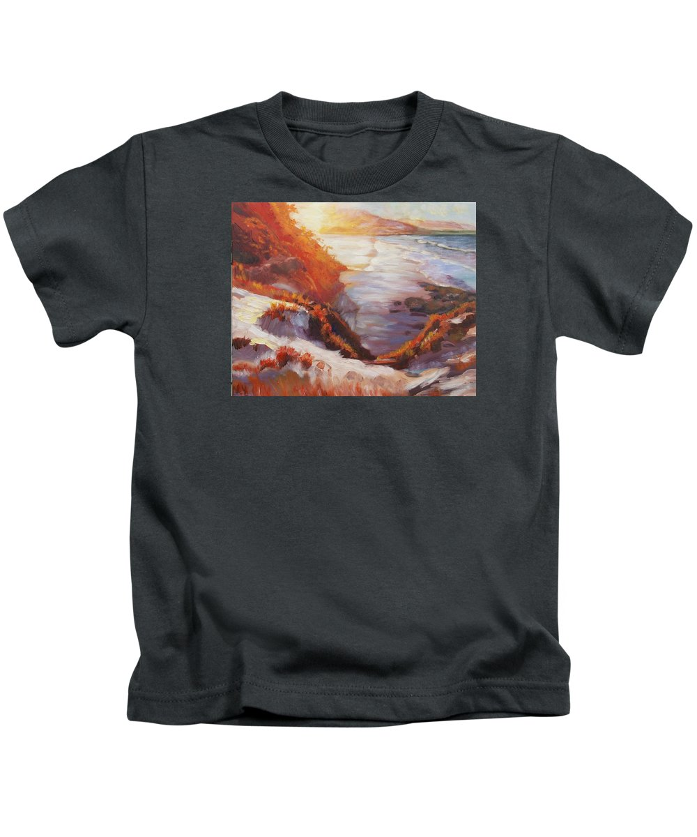 Sunset Kids T-Shirt featuring the painting Sunset Beach by Elena Sokolova