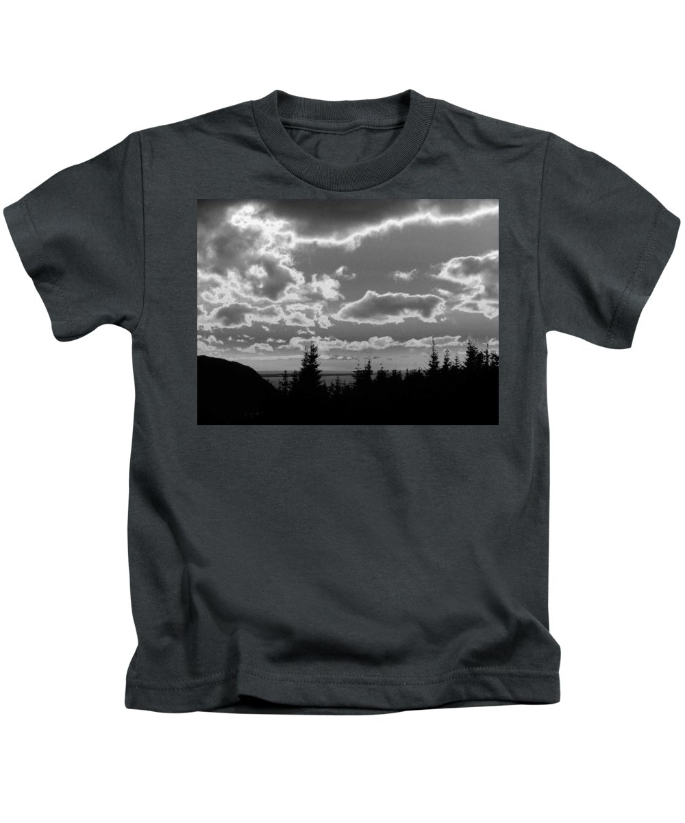 Black And White Photographs Kids T-Shirt featuring the photograph Sunset Bw by Barbara Griffin