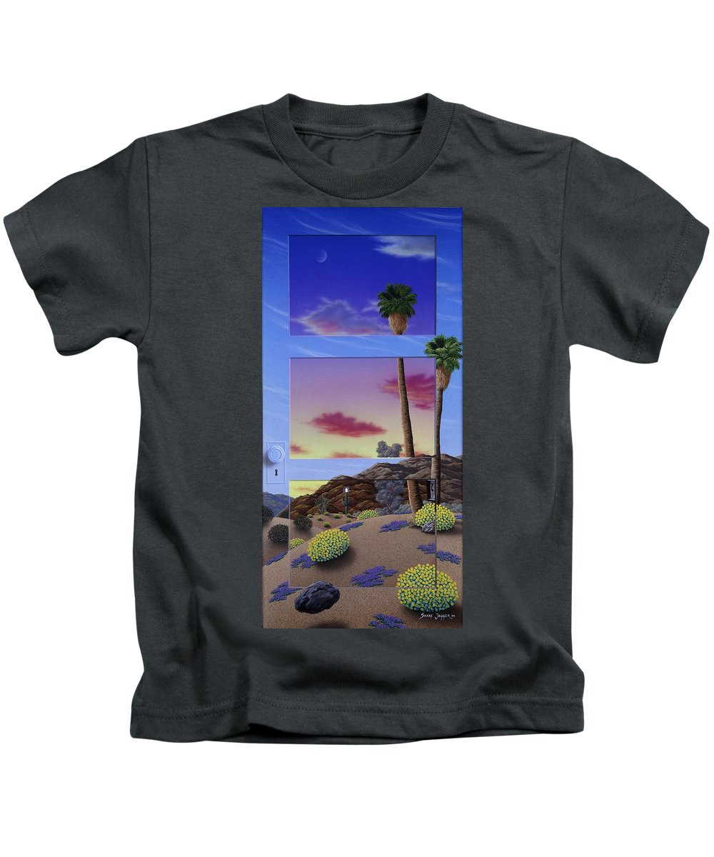 Landscape Kids T-Shirt featuring the painting Sunset Door by Snake Jagger