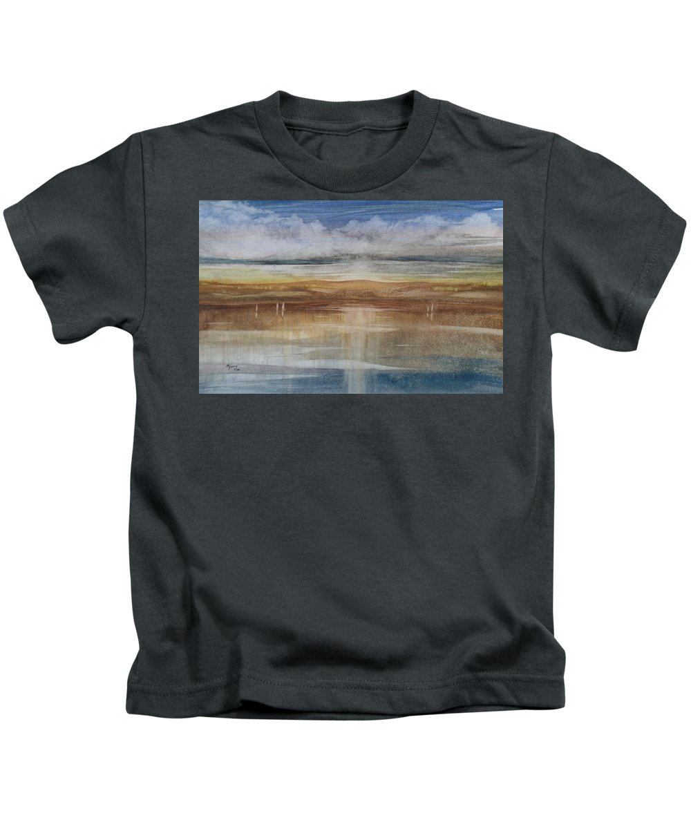 Watercolor Kids T-Shirt featuring the painting Sunset Dunes by David K Myers