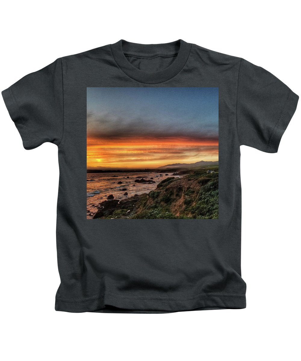 Cambria Kids T-Shirt featuring the photograph Sunset In Cambria by Aaron James