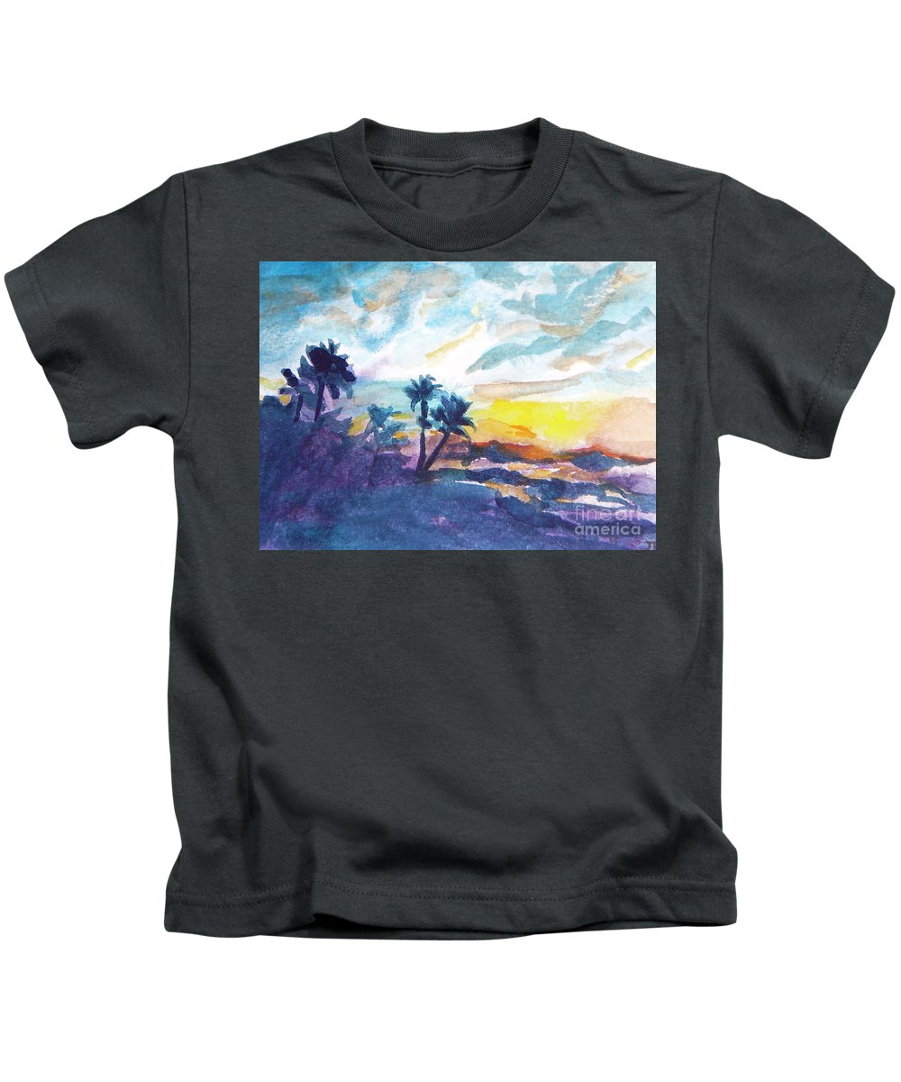 Landscape Kids T-Shirt featuring the painting Sunset In Hawaii by Jan Bennicoff