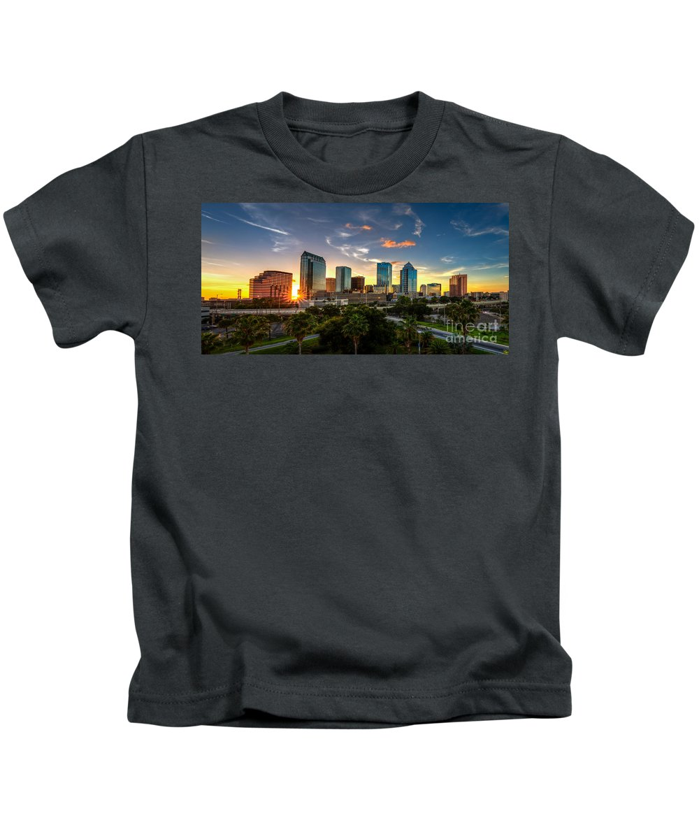 Downtown Tampa Fl Florida Dusk Blue Hour Sunset City Skyline Selmon Crosstown Expressway Amalie Arena Channelside Ice Palace St Pete Times Forum Urban Kids T-Shirt featuring the photograph Sunset On Downtown Tampa by Karl Greeson