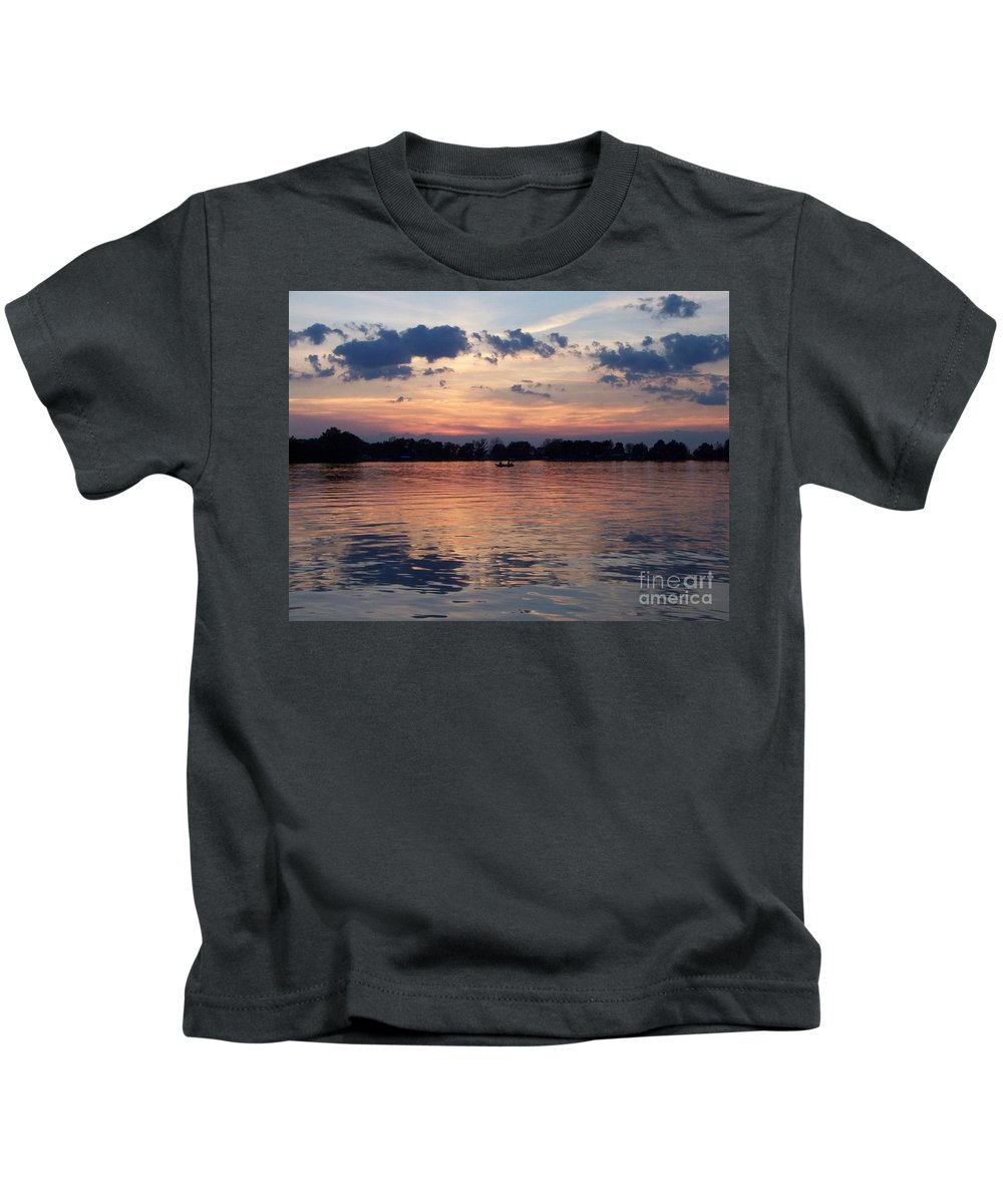 Lake Kids T-Shirt featuring the photograph Sunset On Lake Mattoon by Kathy McClure