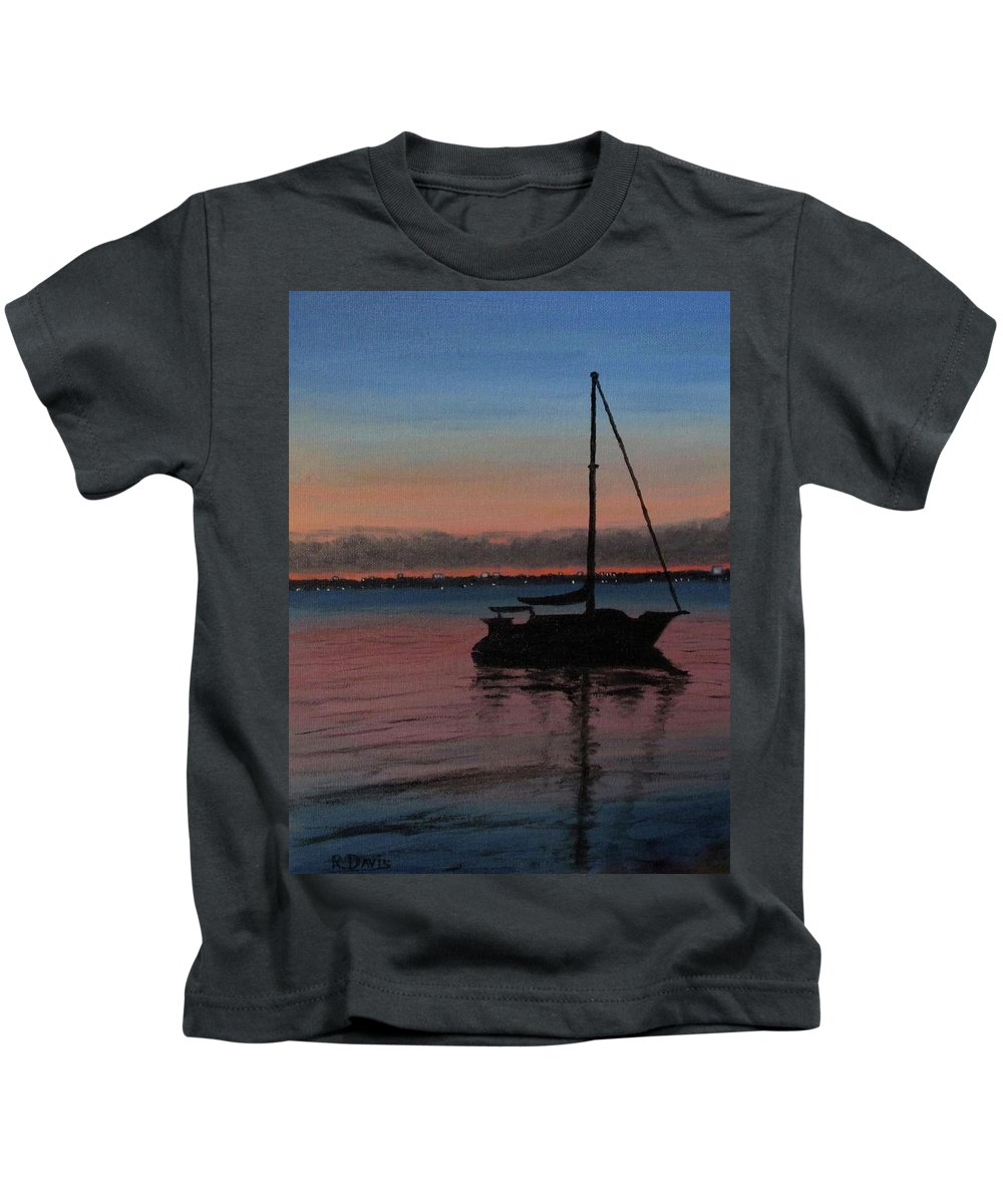 Seascape/landscape Kids T-Shirt featuring the painting Sunset On St. Andrew Bay by Raymond Davis