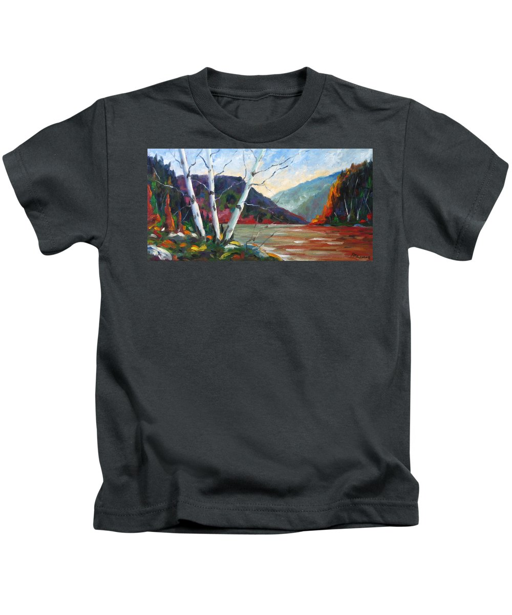 Landscape; Landscapes/scenic; Birches;sun;lake;pranke Kids T-Shirt featuring the painting Sunset On The Lake by Richard T Pranke