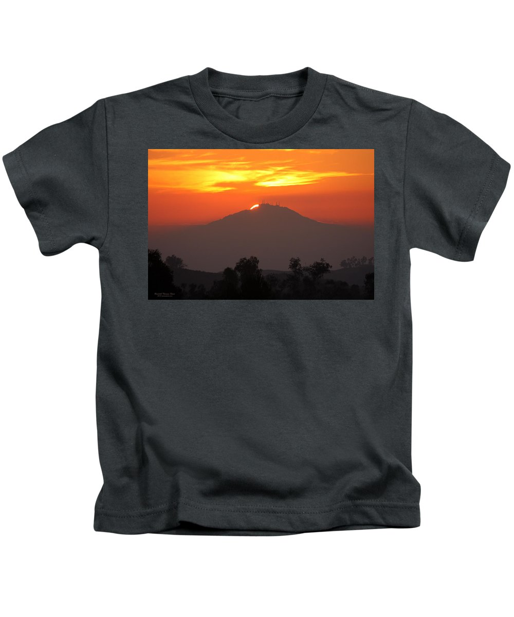 Sun Kids T-Shirt featuring the photograph Sunset Over Mt. Woodson by Randall Thomas Stone