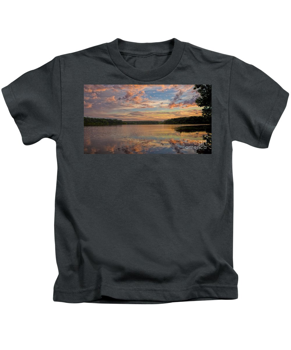 Sunset Reflections Kids T-Shirt featuring the photograph Sunset Reflections by Jemmy Archer