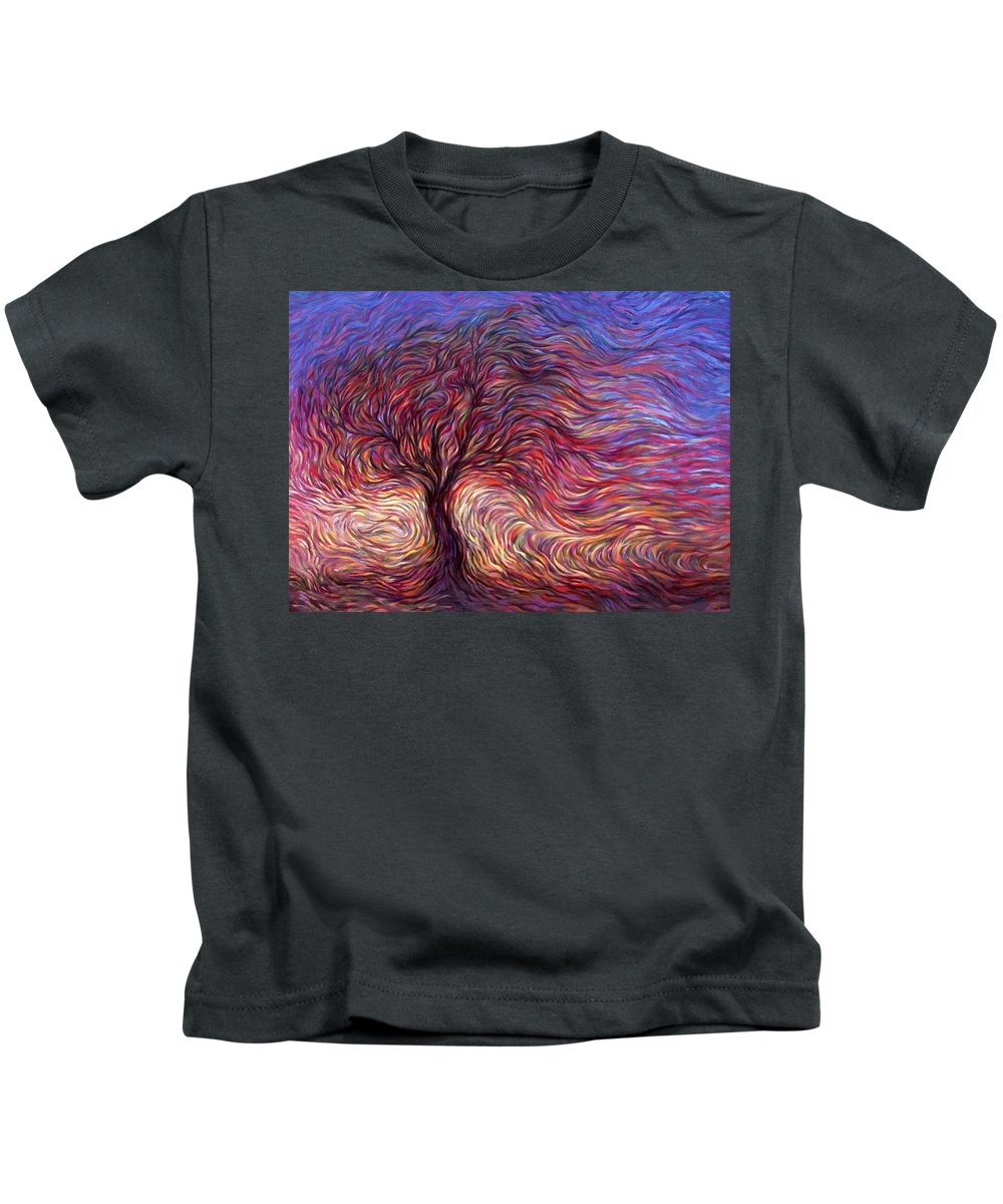 Tree Kids T-Shirt featuring the painting Sunset Tree by Hans Droog