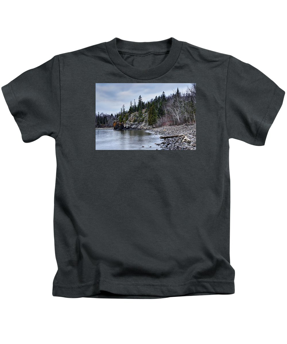 Photography Kids T-Shirt featuring the photograph Superior Cliffs by Larry Ricker